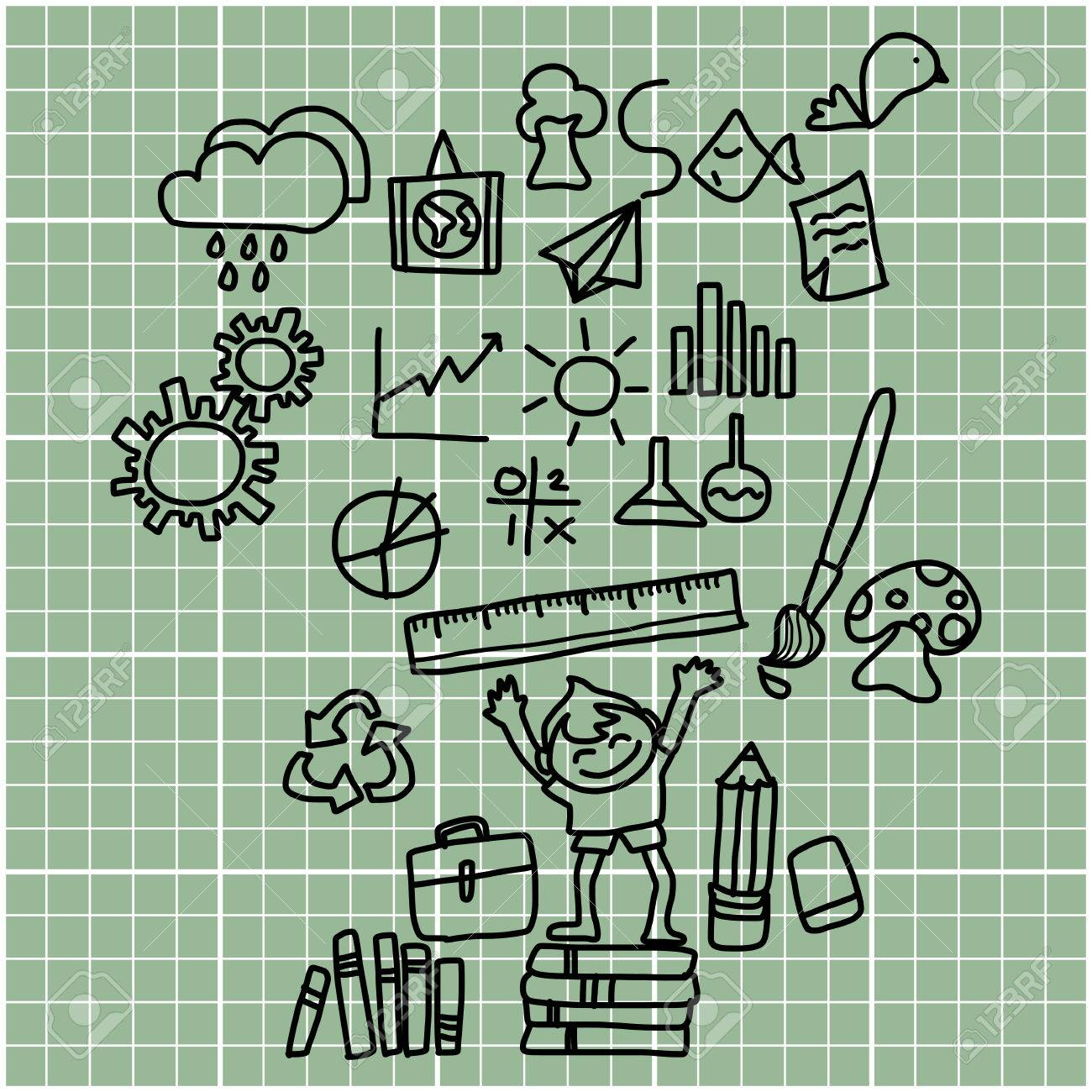 cartoon hand drawing back to school on graph paper royalty free