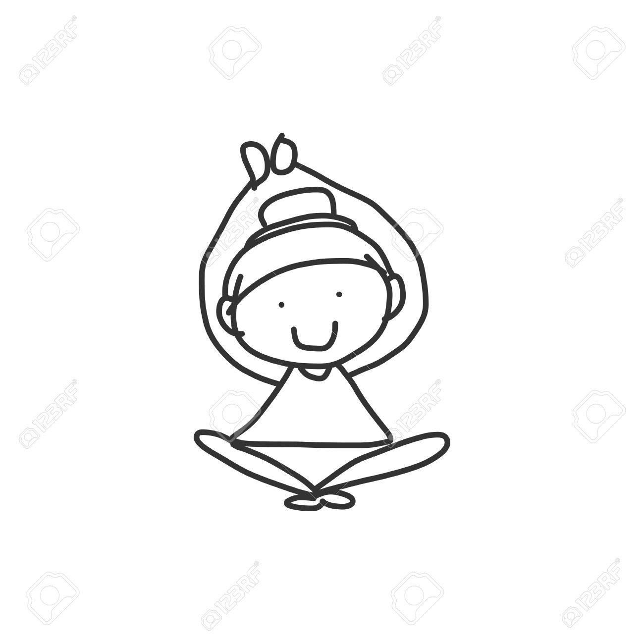 Hand Drawing Cartoon Happy People Yoga Royalty Free Cliparts Vectors And Stock Illustration Image 22348128