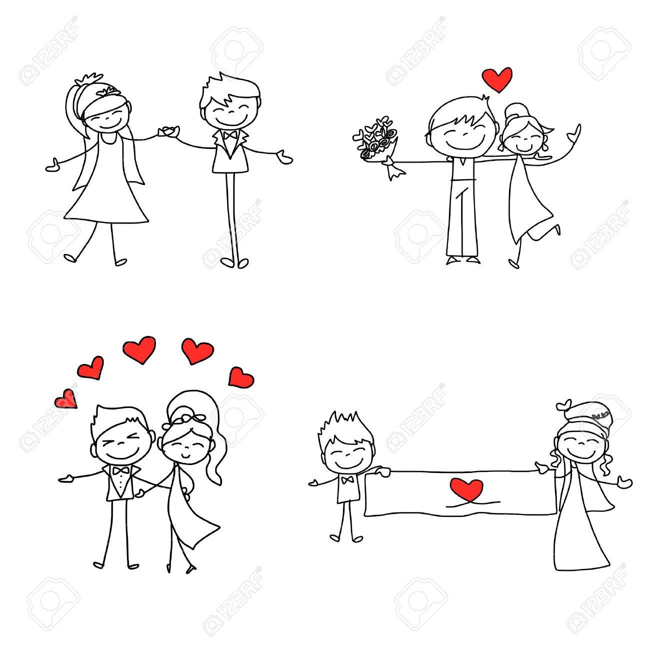 Banque d\u0027images , Dessin à la main de dessin animé amoureux heureux mariage