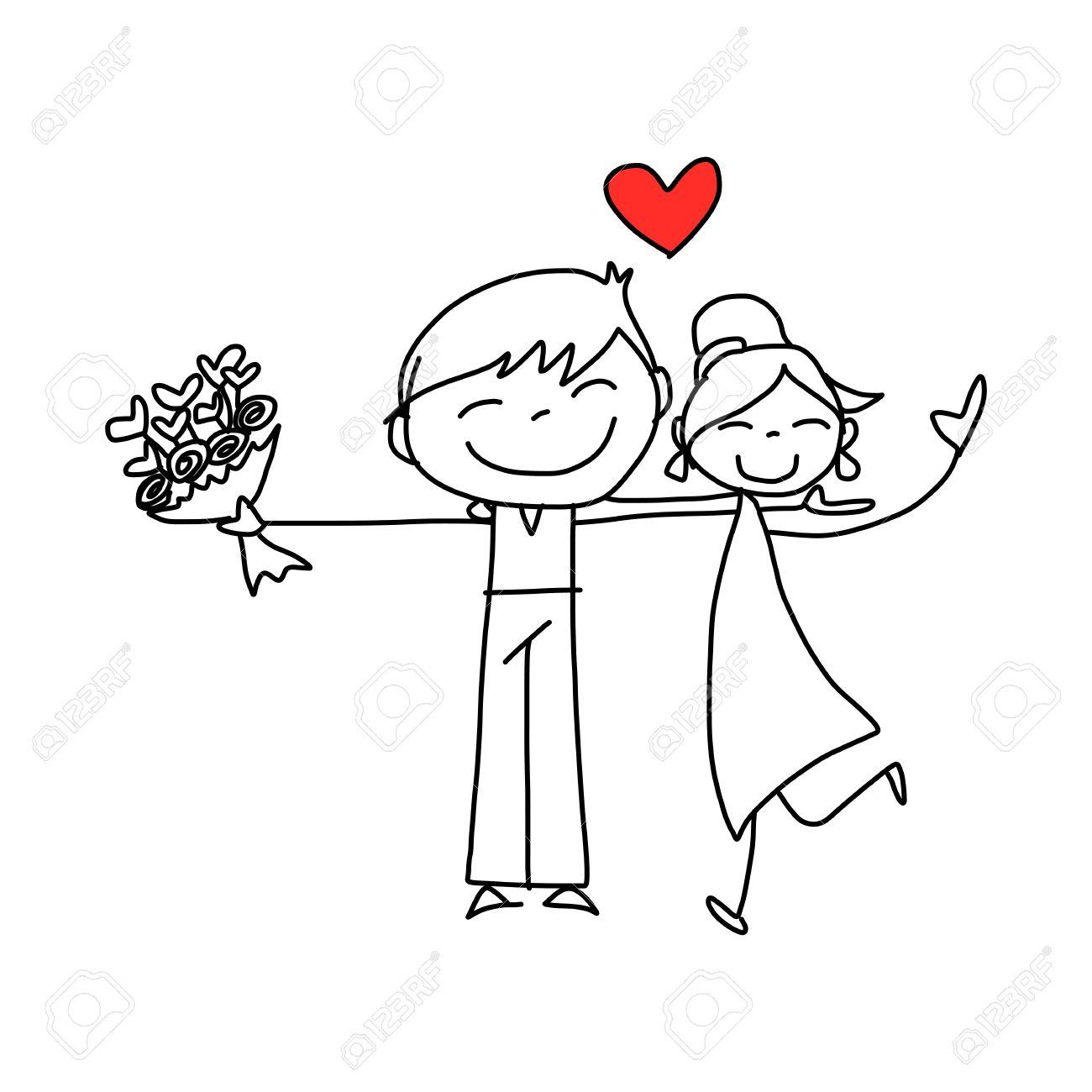 Banque dimages , dessin à la main de dessin animé amoureux heureux mariage