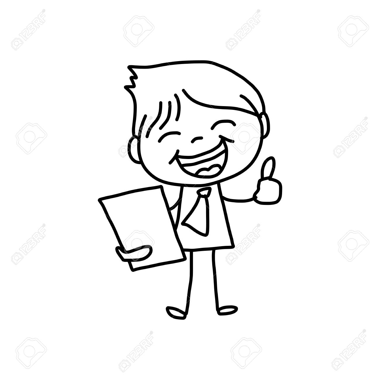 hand drawing cartoon character happy business person royalty free rh 123rf com happy old person cartoon happy person cartoon picture