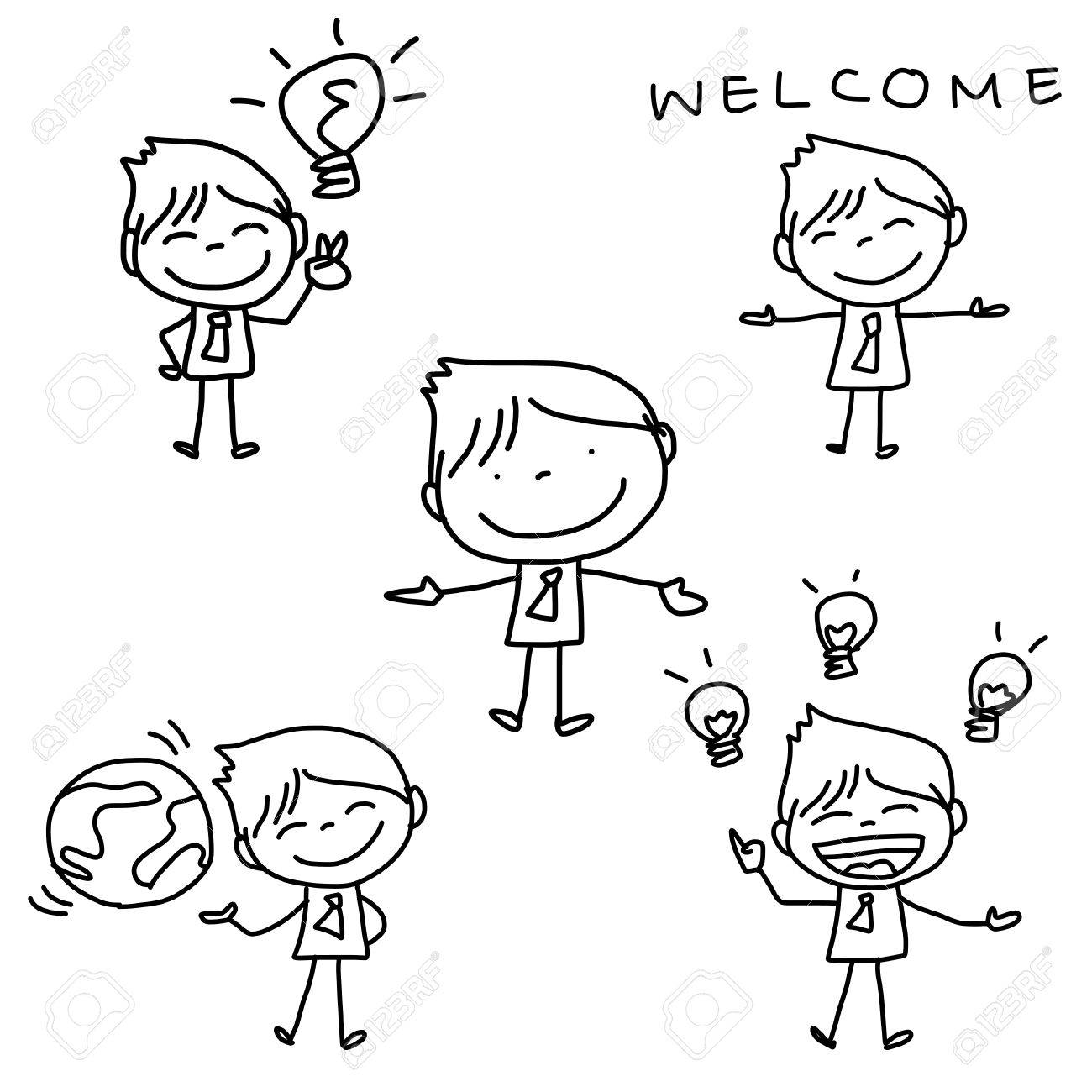 hand drawing cartoon character happy business person - 22797855