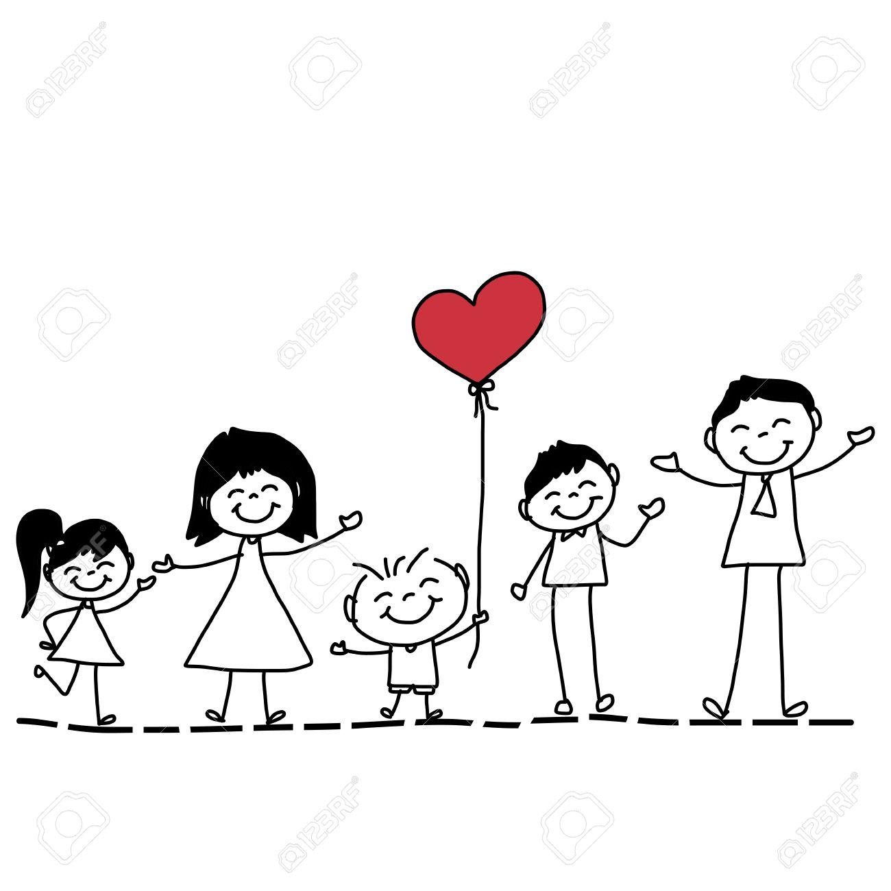 hand drawing cartoon character happy family - 26262330