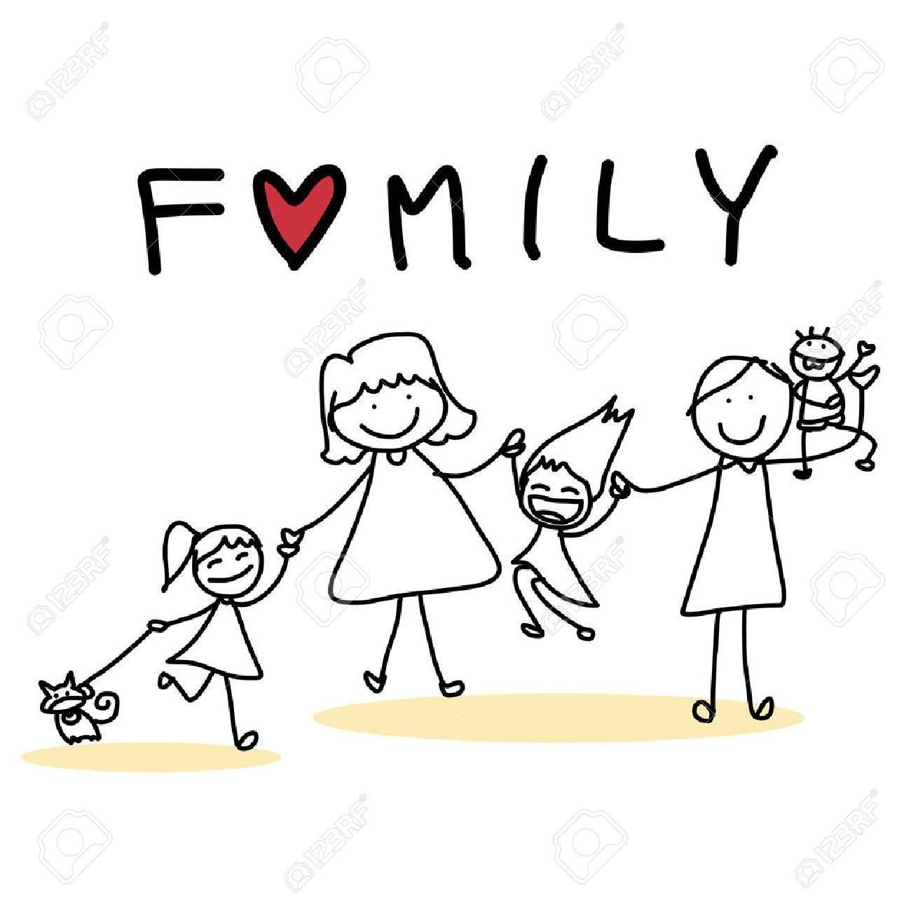 hand drawing cartoon character happy family - 26262334