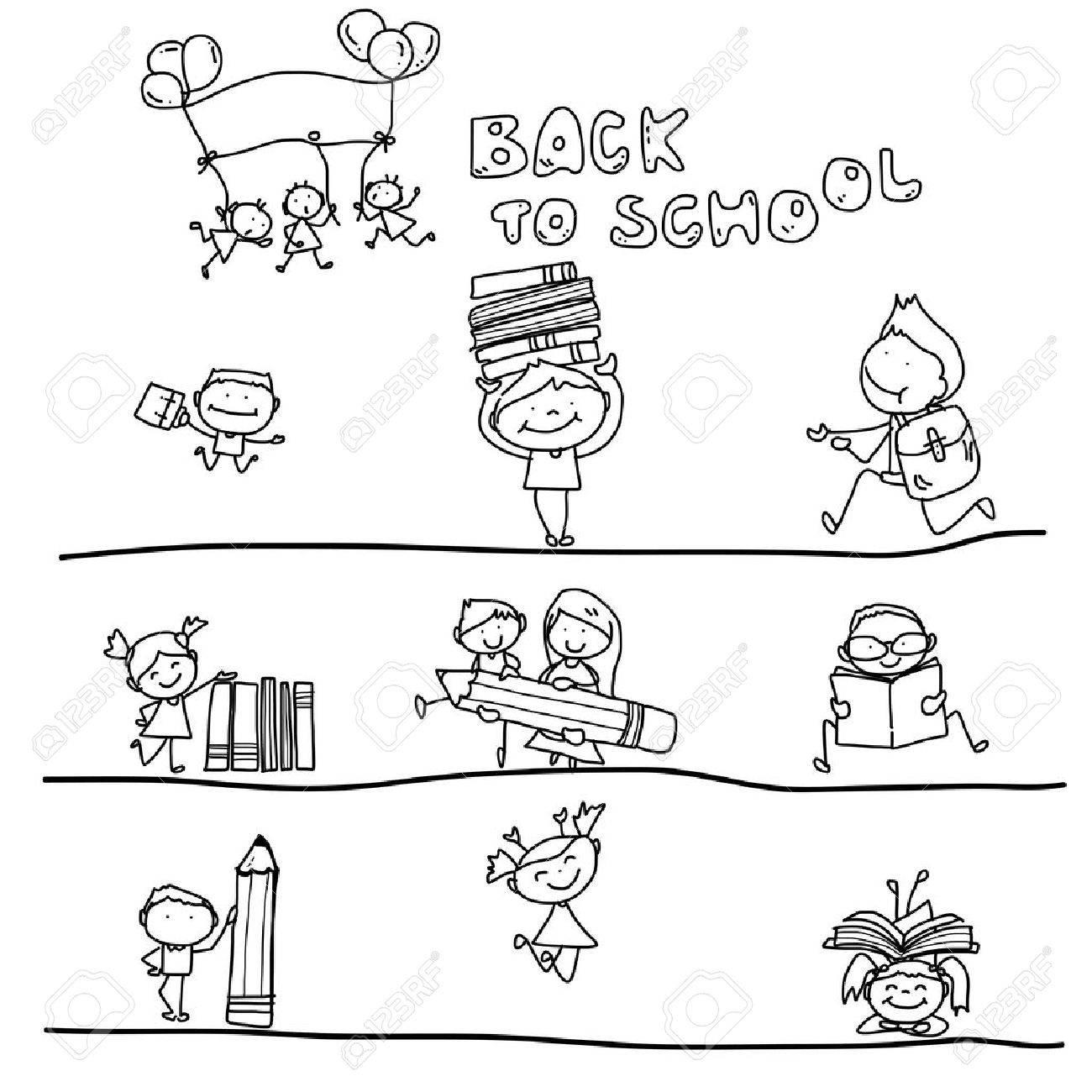 hand drawing cartoon happy kid back to school - 26912785