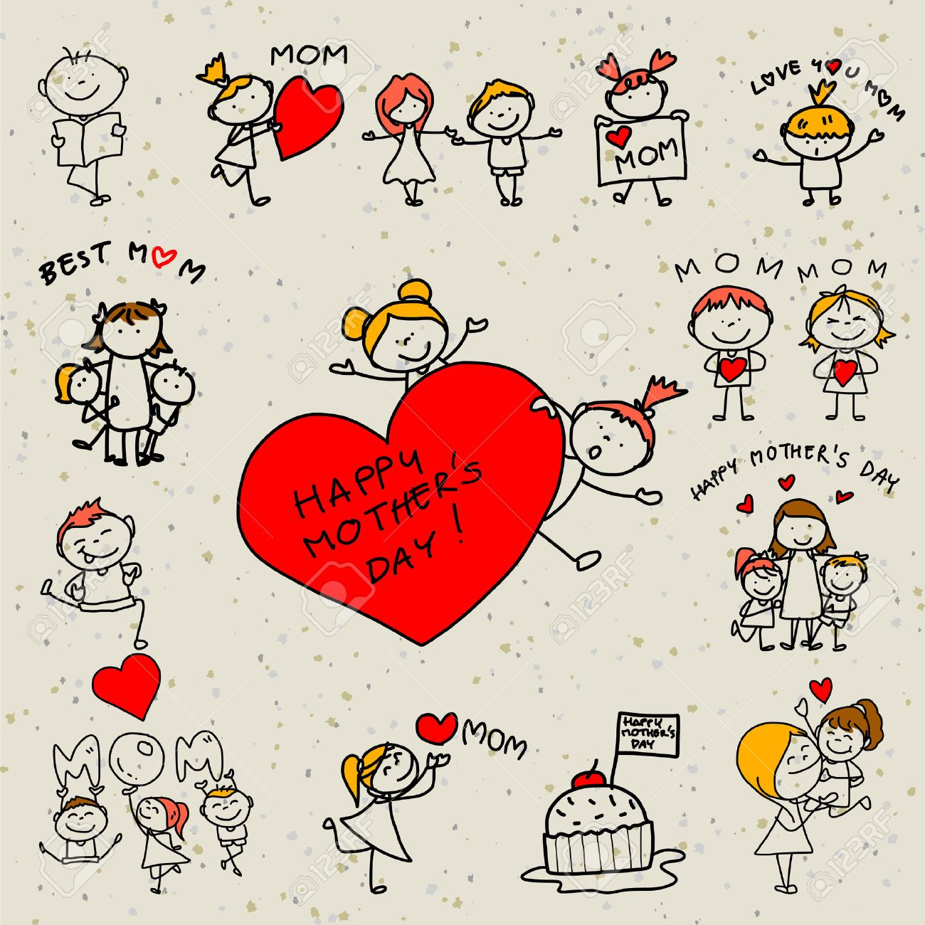 hand drawing cartoon concept happy kids happy mother's day - 27237786
