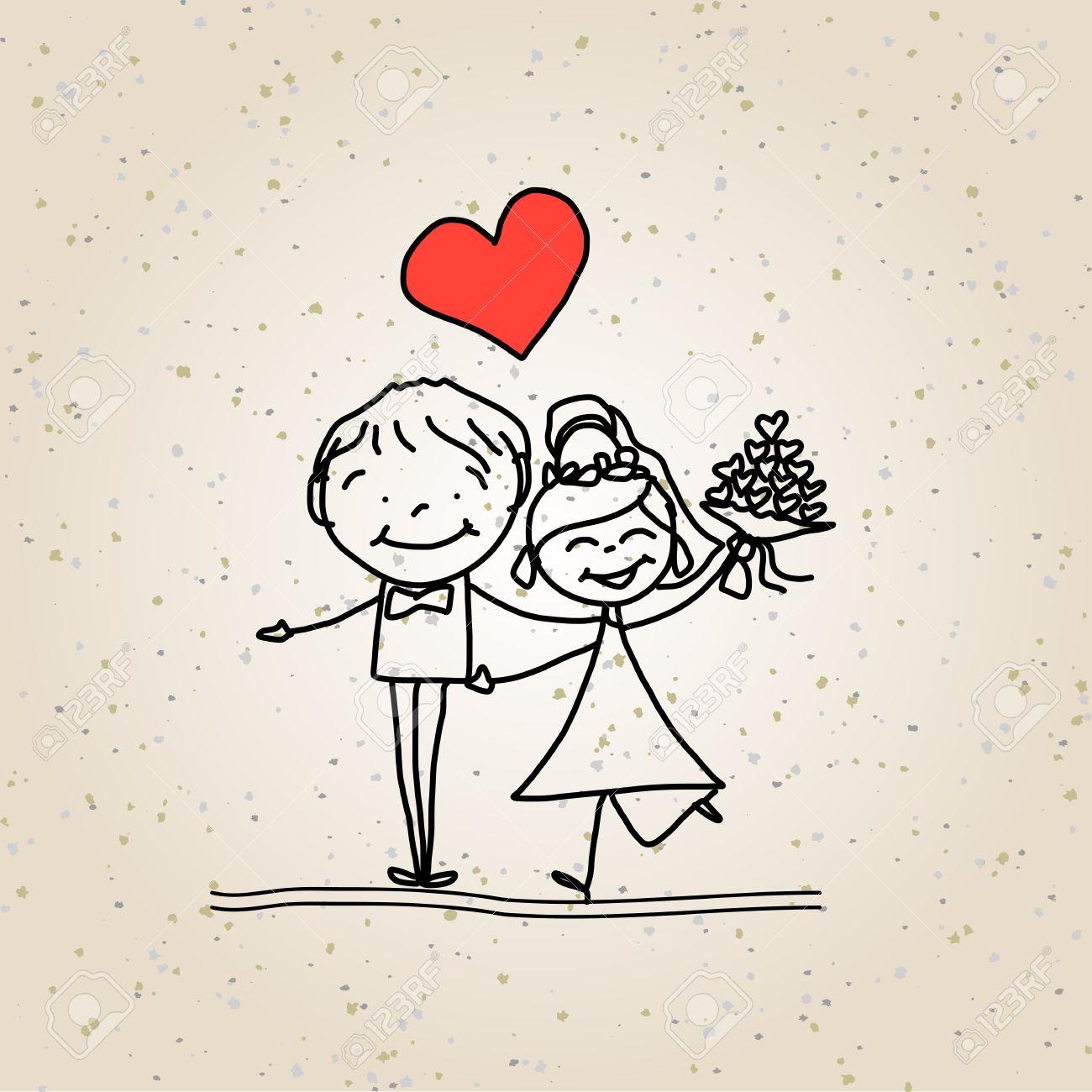 Banque d\u0027images , Main dessin animé de dessin couple heureux mariage