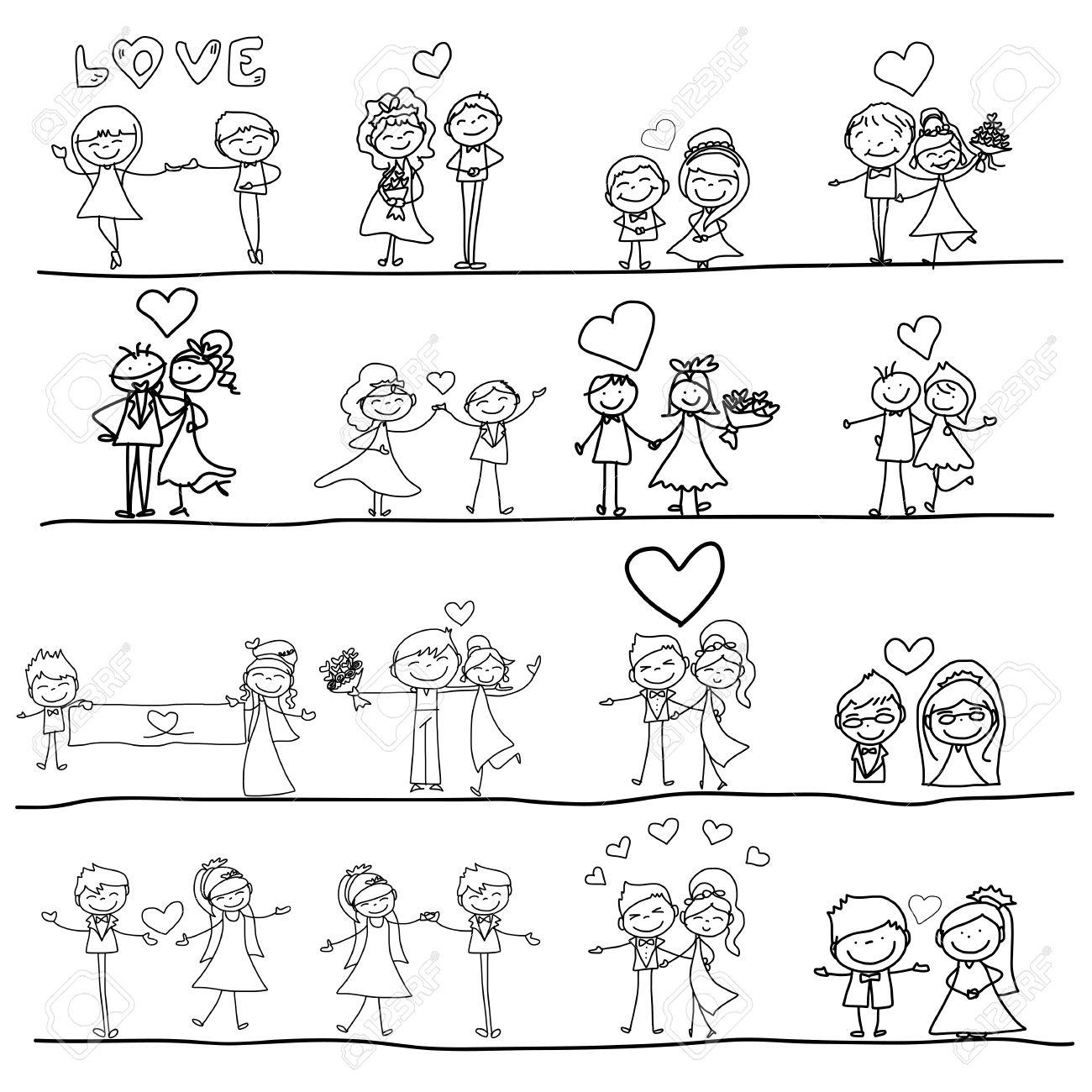 Handzeichnung Karikatur Glückliches Paar Hochzeit Standard Bild   27871077