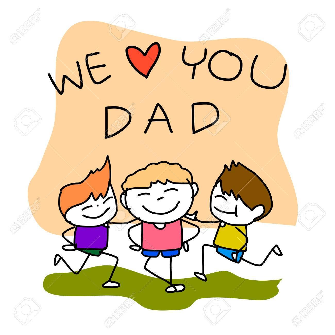 Hand Drawing Cartoon Happy Family Happy Fathers Day Royalty Free