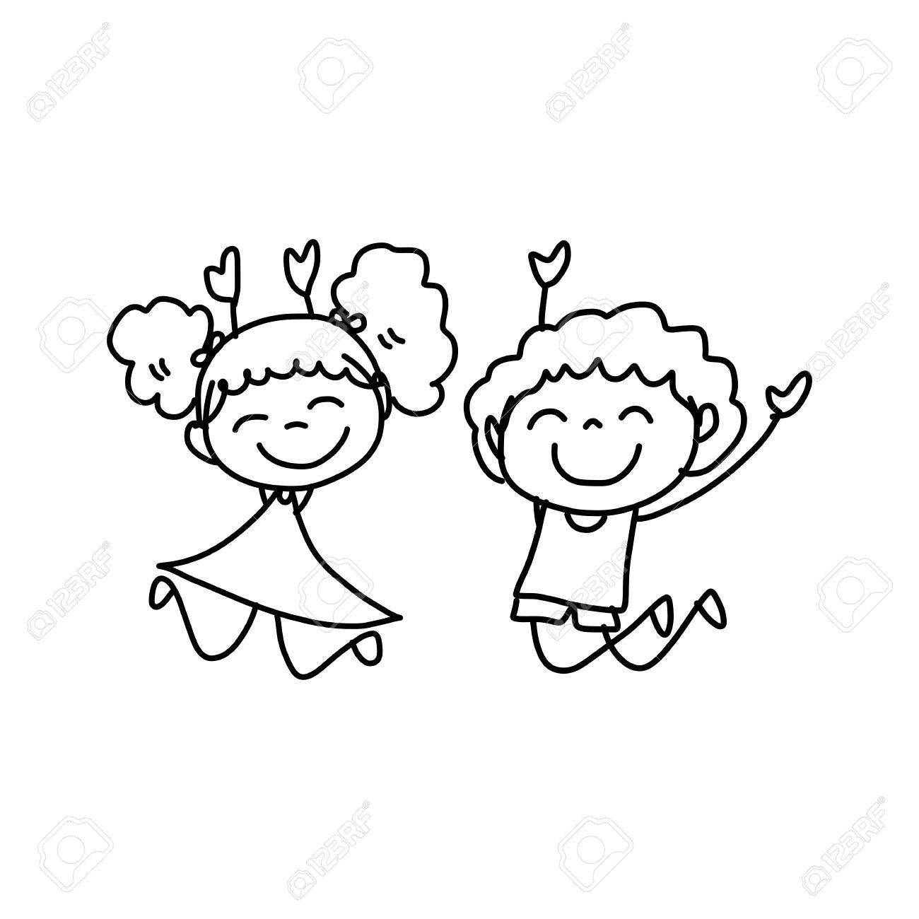 Hand Drawing Cartoon Concept Happy Kids Playing Royalty Free