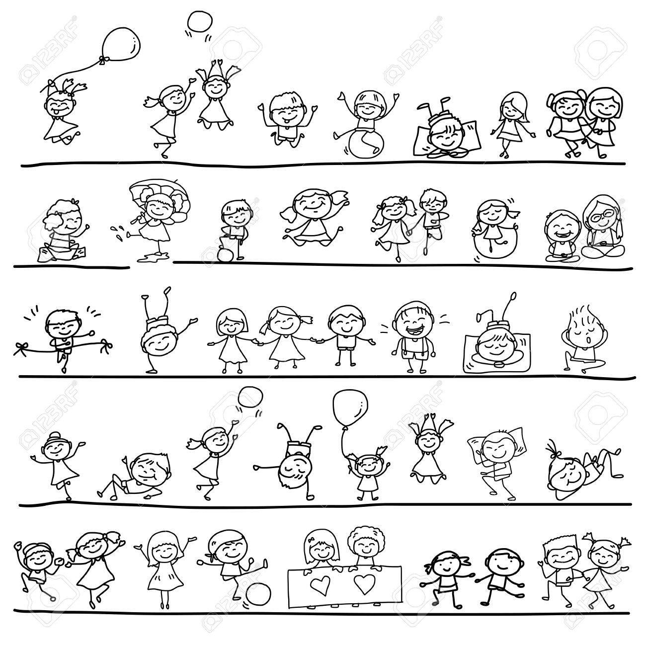 hand drawing cartoon character happy kids playing - 29861700