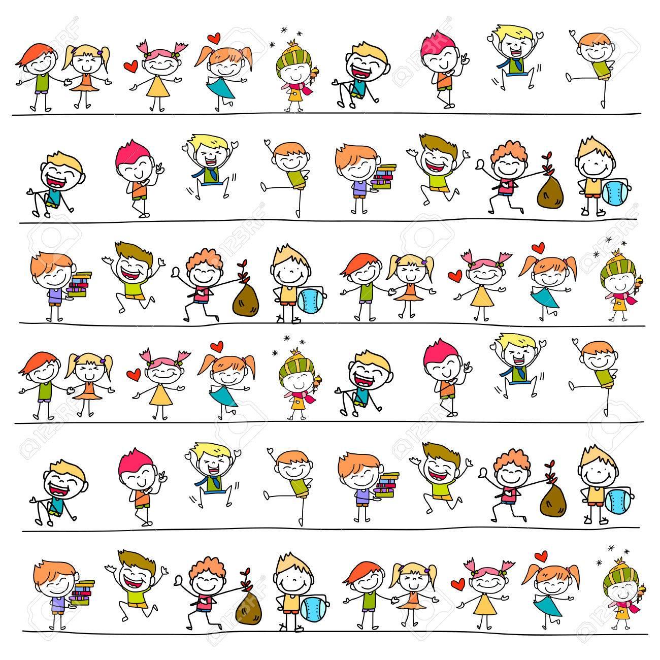 hand drawing cartoon happy kids - 31868701