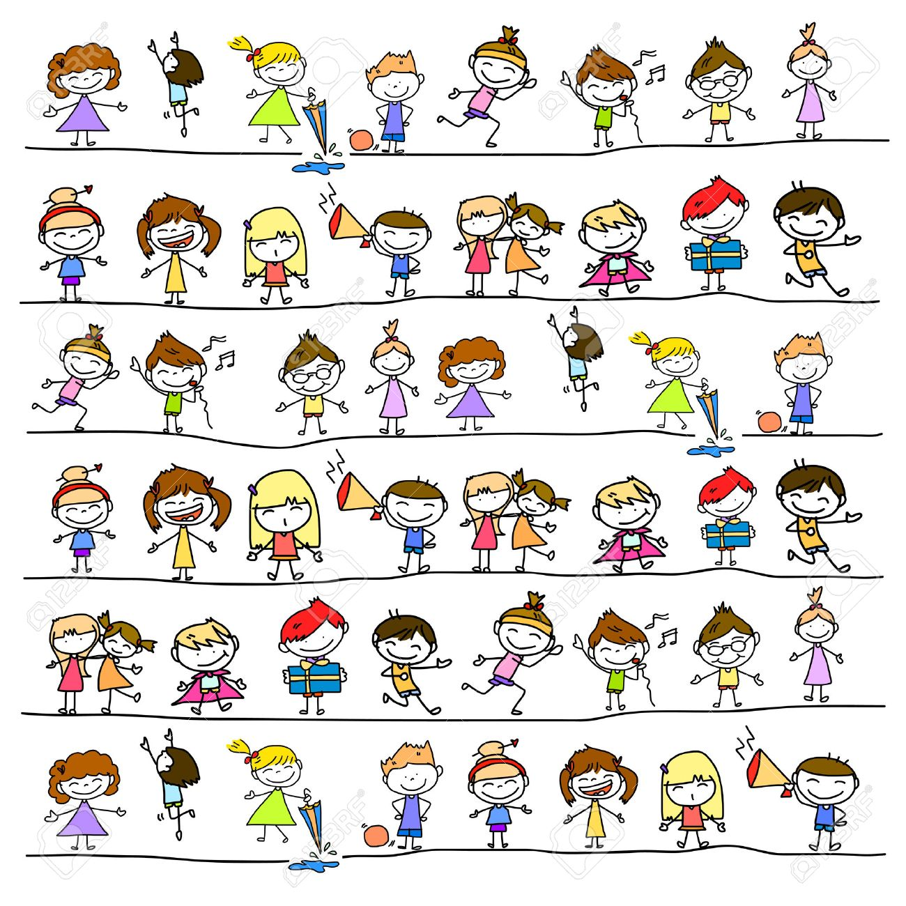 hand drawing cartoon abstract character happy people - 32366486