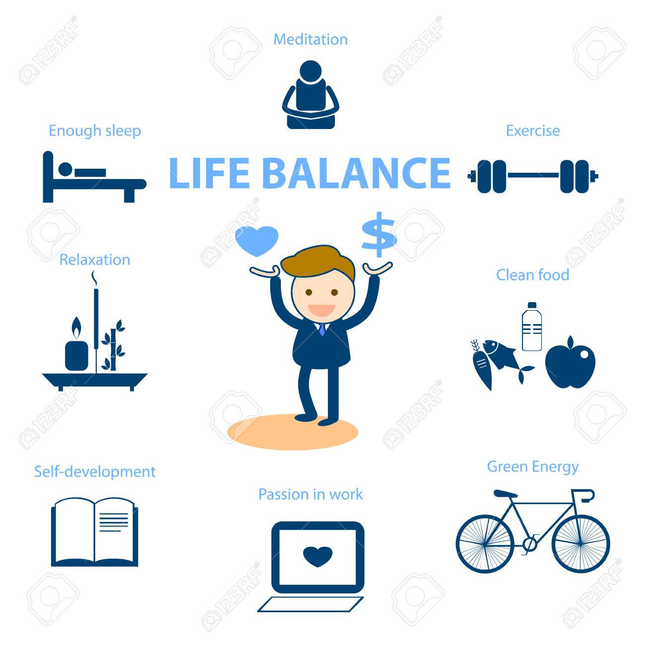 well being concept illustration for life balance - 37361978