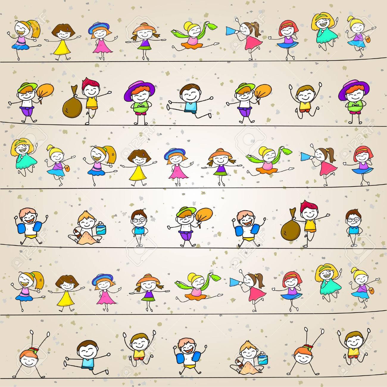 hand drawing cartoon character happy kids playing - 42663718