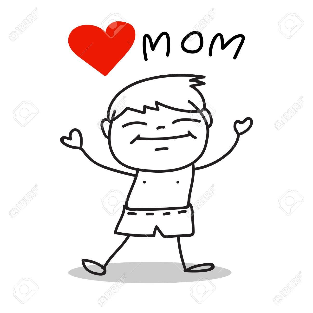 Hand Tekenen Cartoon Liefde Mom Gelukkig Moederdag Royalty Vrije