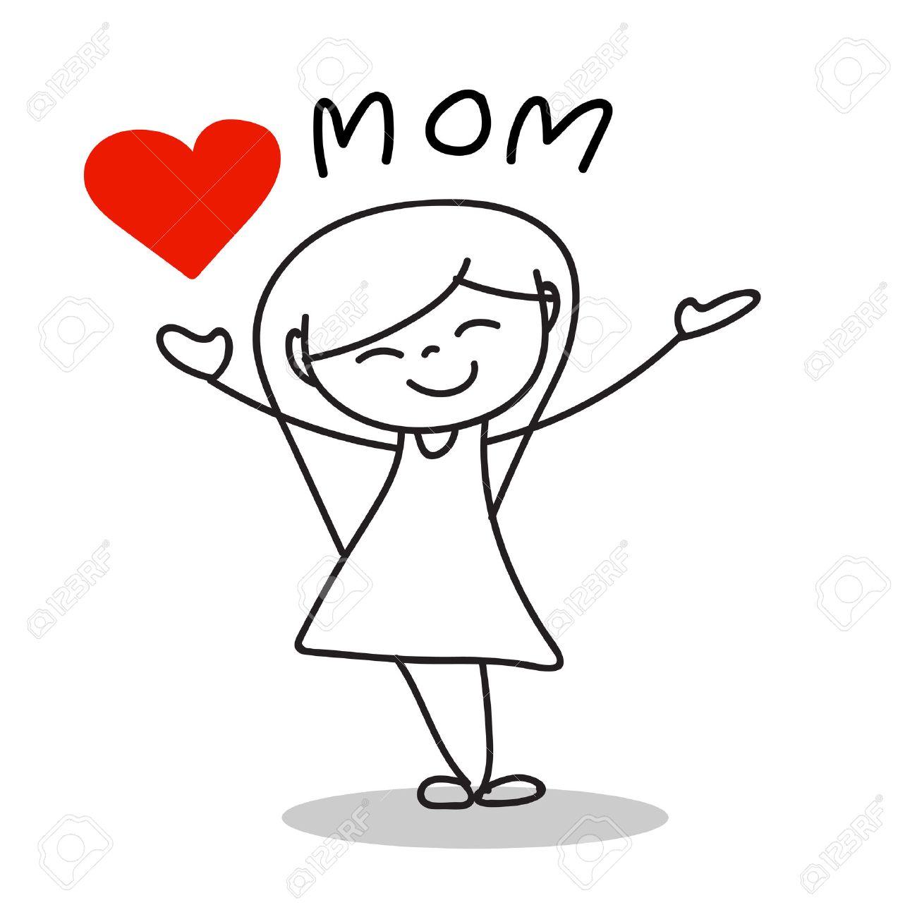 De Dibujos Animados Dibujo De La Mano Amor Mamá Día De Madre Feliz