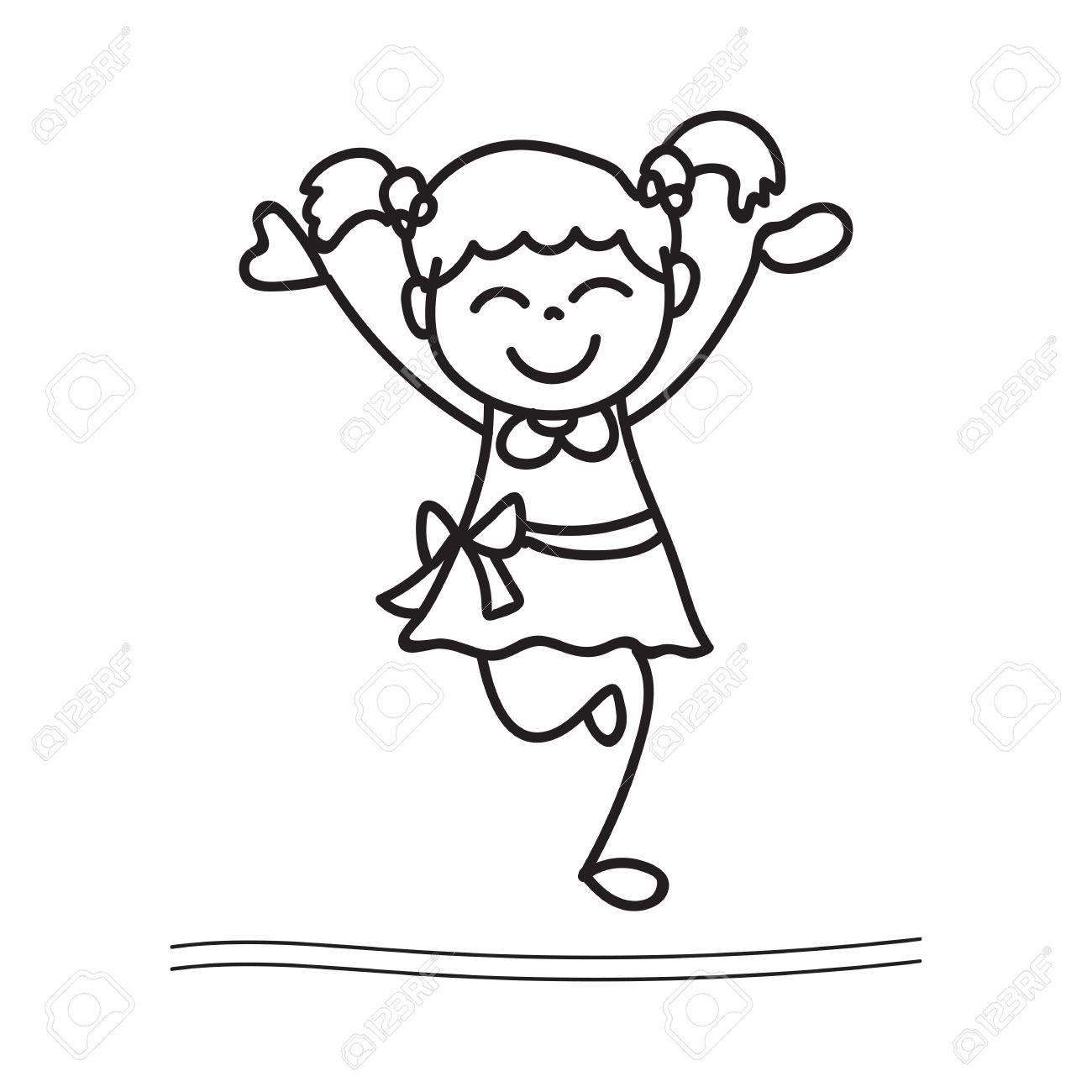 Hand drawing cartoon happy girl dancing stock vector 43908430
