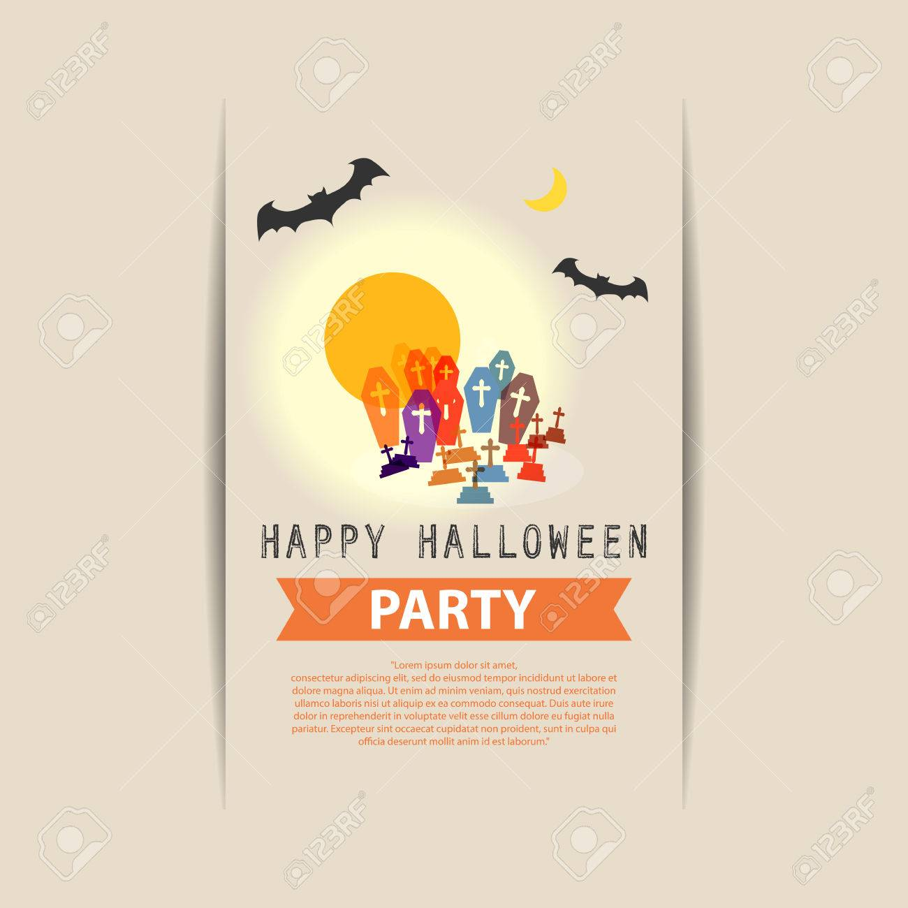 Happy Halloween Party Grave Yard With Full Moon And ...