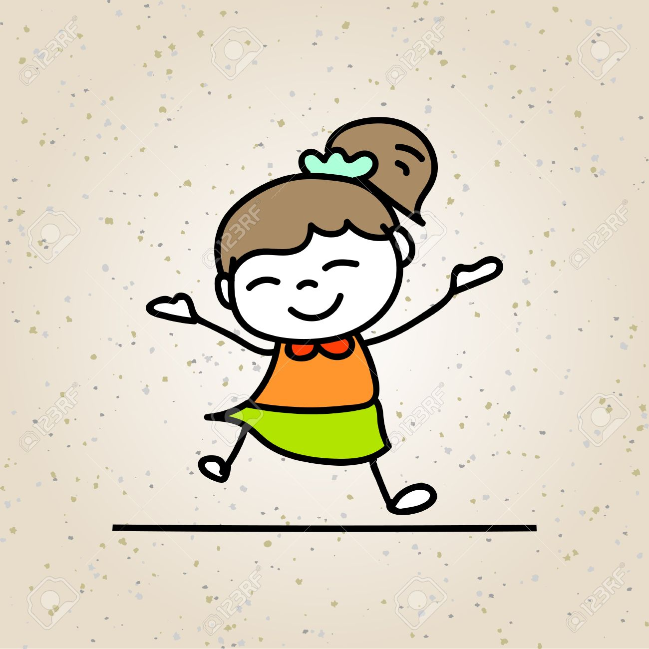 Drawing colorful happiness cartoon concept happy girl character of kid smile with joy illustration