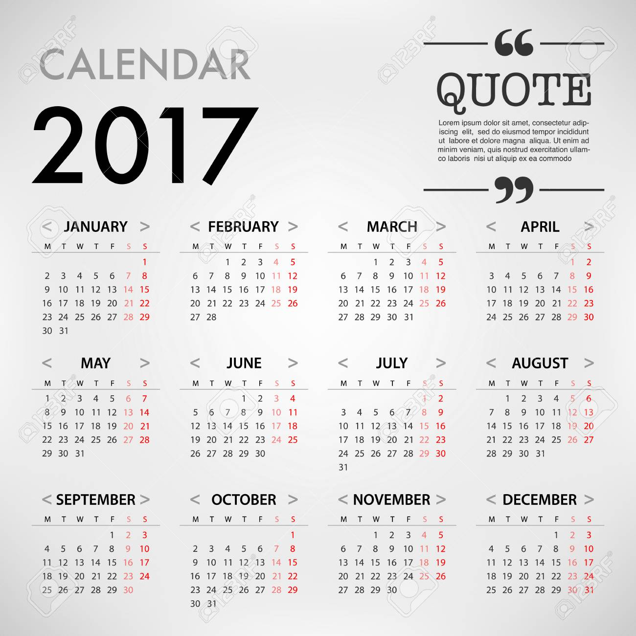 Delightful Calendar For 2017 On White Background With Quote On Right Corner For  Organization And Business.