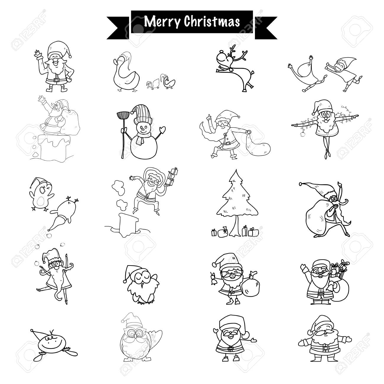 Hand Drawing Merry Christmas Funny Drawing Santa Claus And All