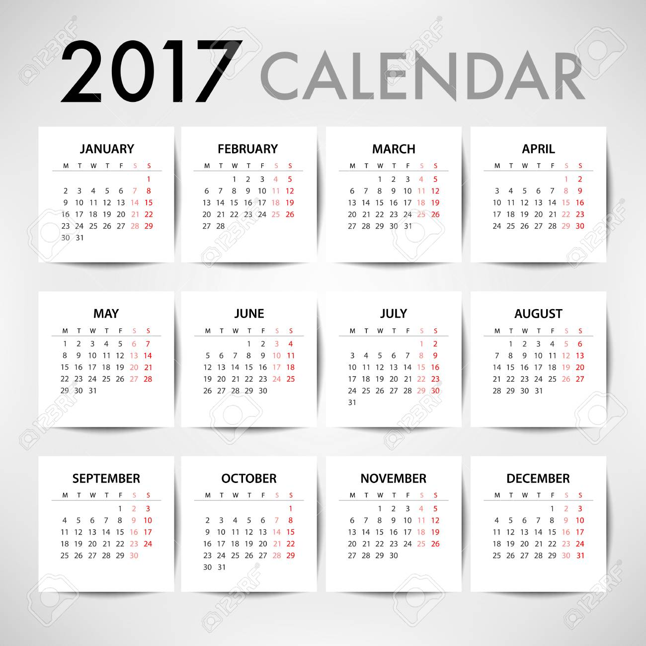 calendar for 2017 for organization and business week starts