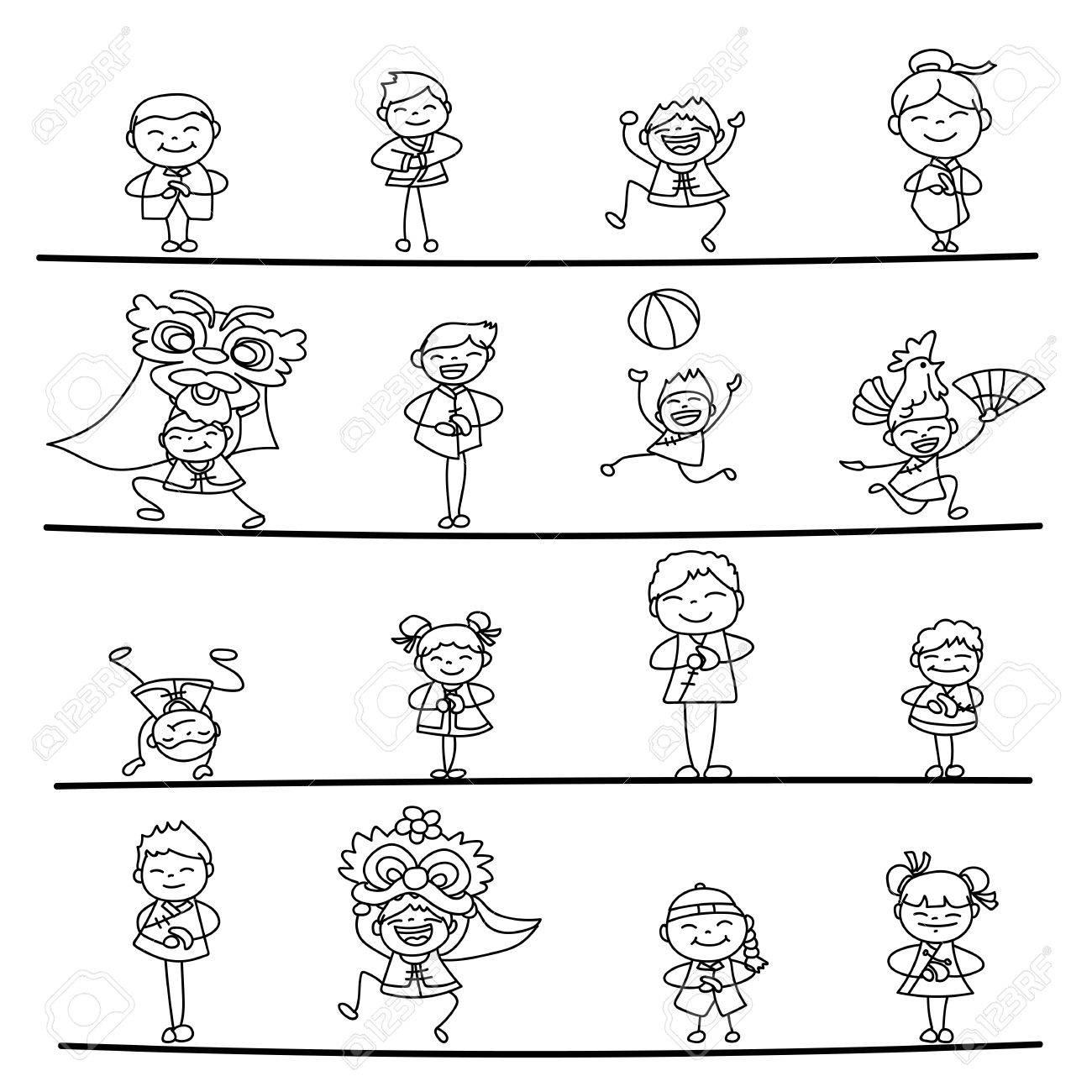 Conjunto De La Mano De Dibujo De Personajes De Dibujos Animados ...