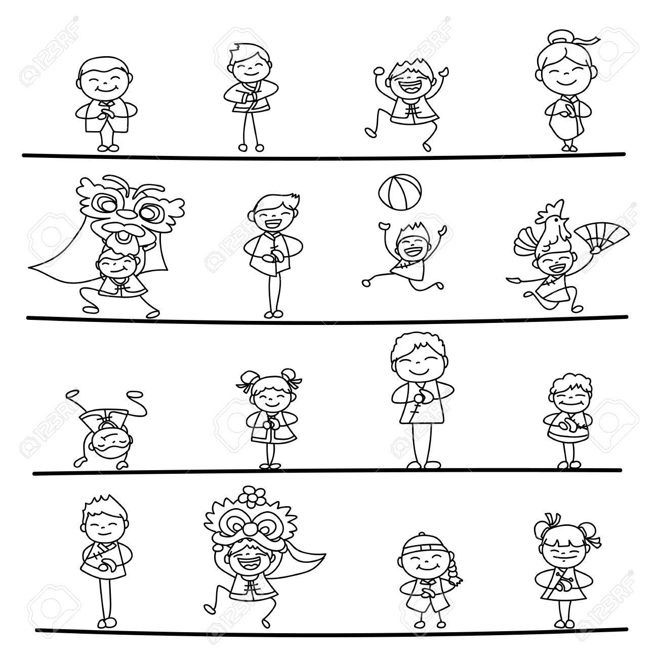 Set Of Hand Drawing Cartoon Character Chinese People And Kids Happy New Year