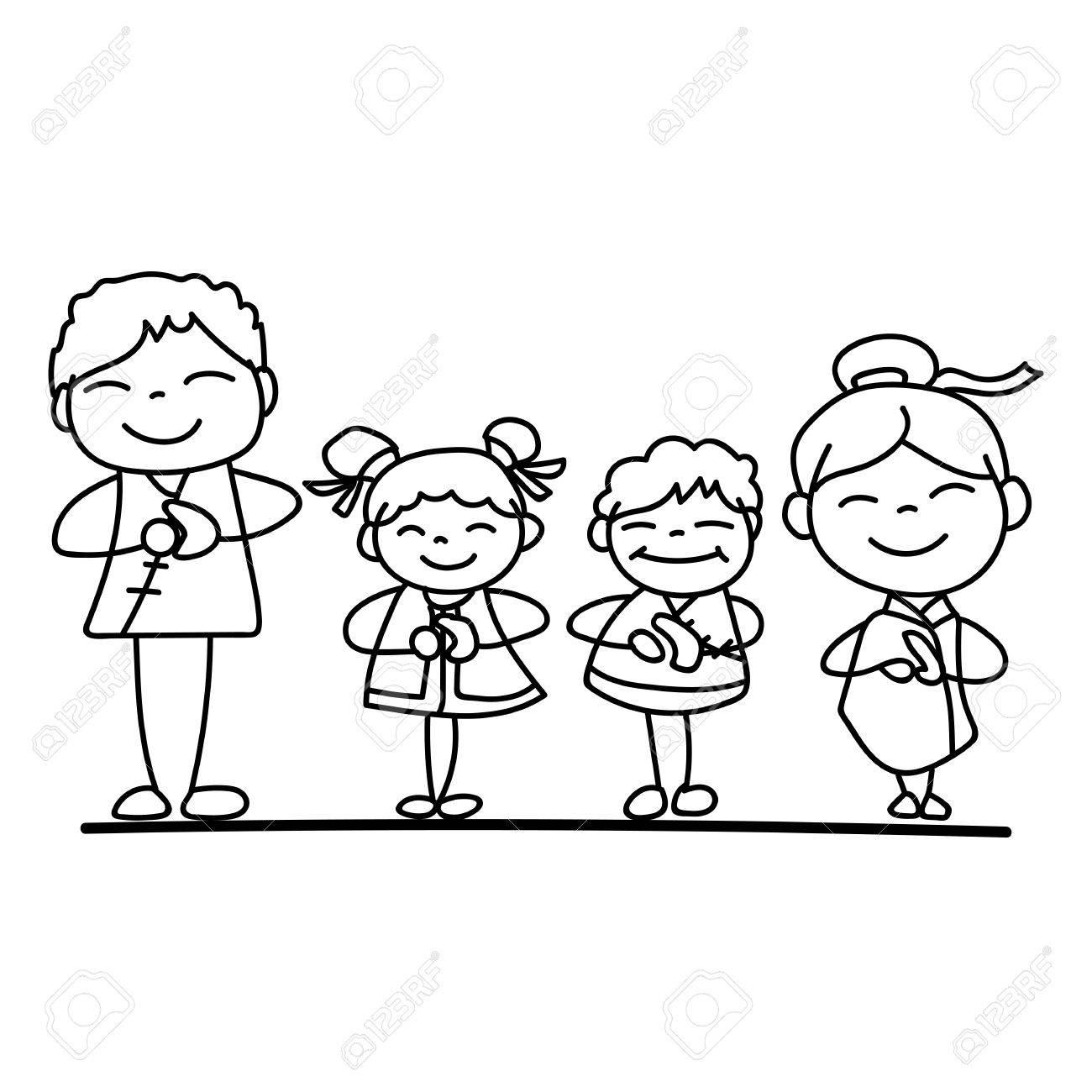 Conjunto De Personaje De Dibujos Animados De Dibujo A Mano Familia