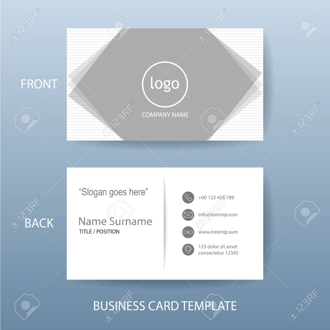Vector Modern And Clean White Grey Business Card Name Card Design ...
