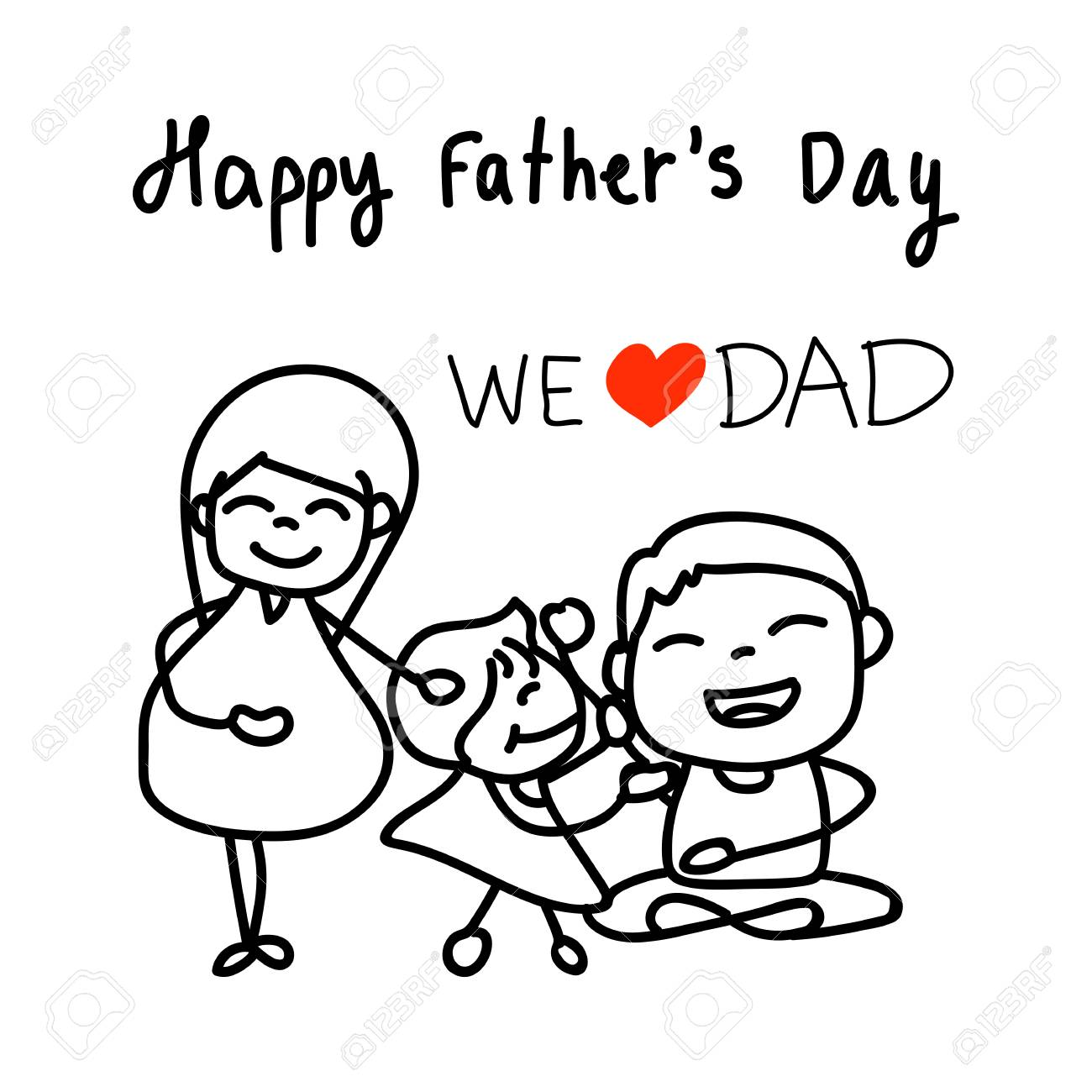 Mano Dibujo Personaje De Dibujos Animados Feliz Dia De Padres