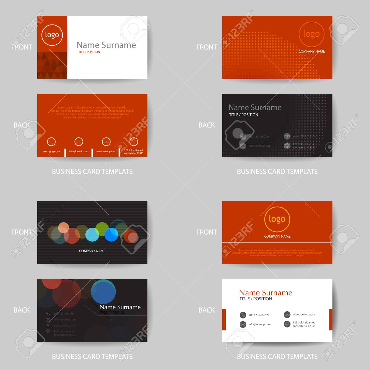 Set Of Vector Modern And Clean Red And Black Color Business Card ...