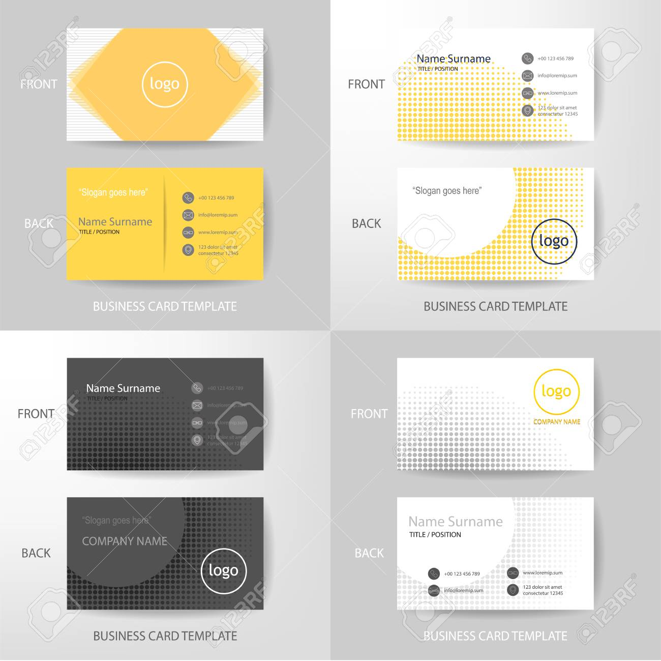 Set Of Vector Modern And Clean Yellow White And Grey Color Tone ...