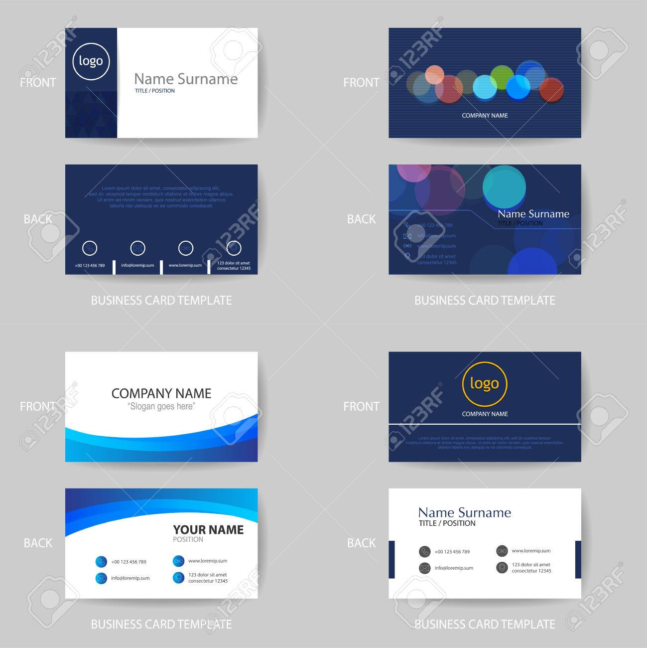 Set of vector modern and clean blue color tone business card set of vector modern and clean blue color tone business card name card design template graphic reheart Gallery