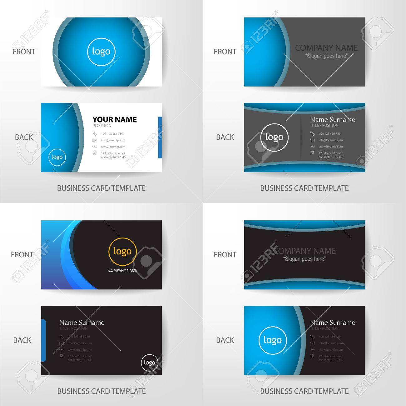 Set of vector modern and clean grey black and blue business card set of vector modern and clean grey black and blue business card name card design template wajeb Choice Image