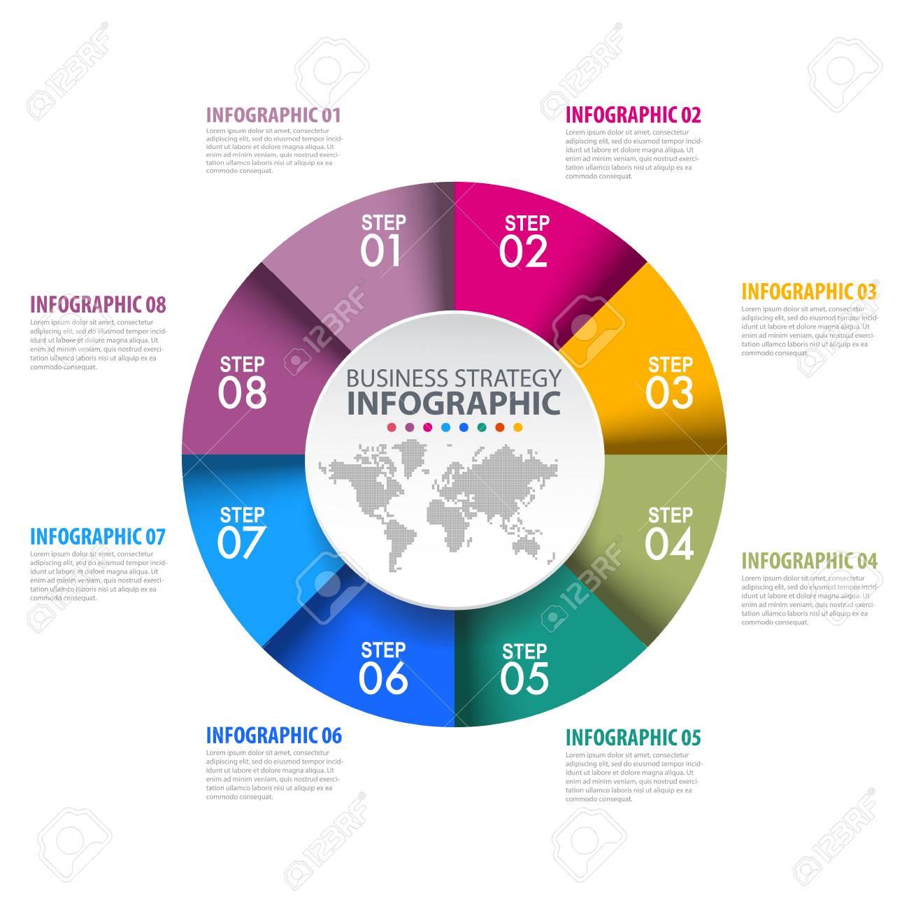 Circle Chart Business Infographics Strategy Timeline Design - Timeline graphic template