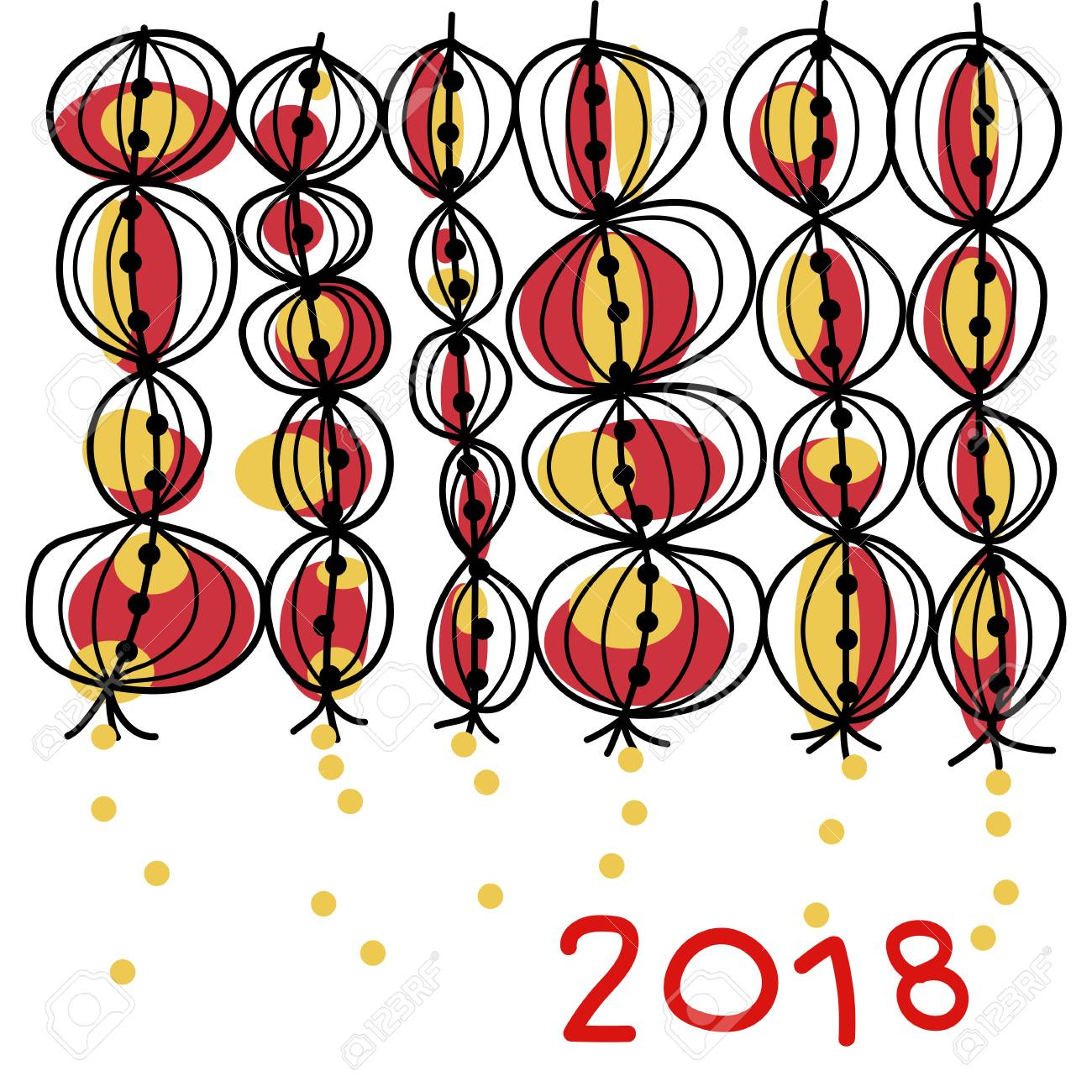 hand drawing happy chinese new year 2018 background lanterns moon year lunar year