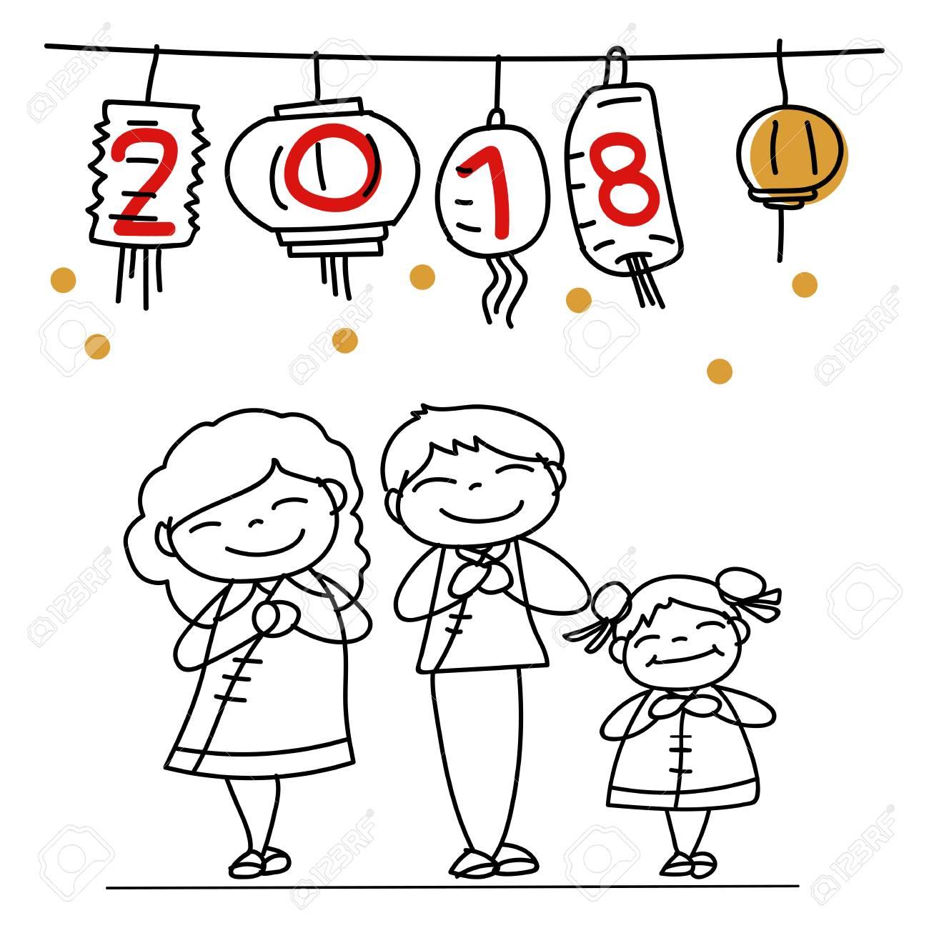 Dibujo A Mano Personaje De Dibujos Animados Chino Familia Y Niños Feliz Año Nuevo Chino 2018 Año De La Luna Año Lunar Concepto Línea De Arte