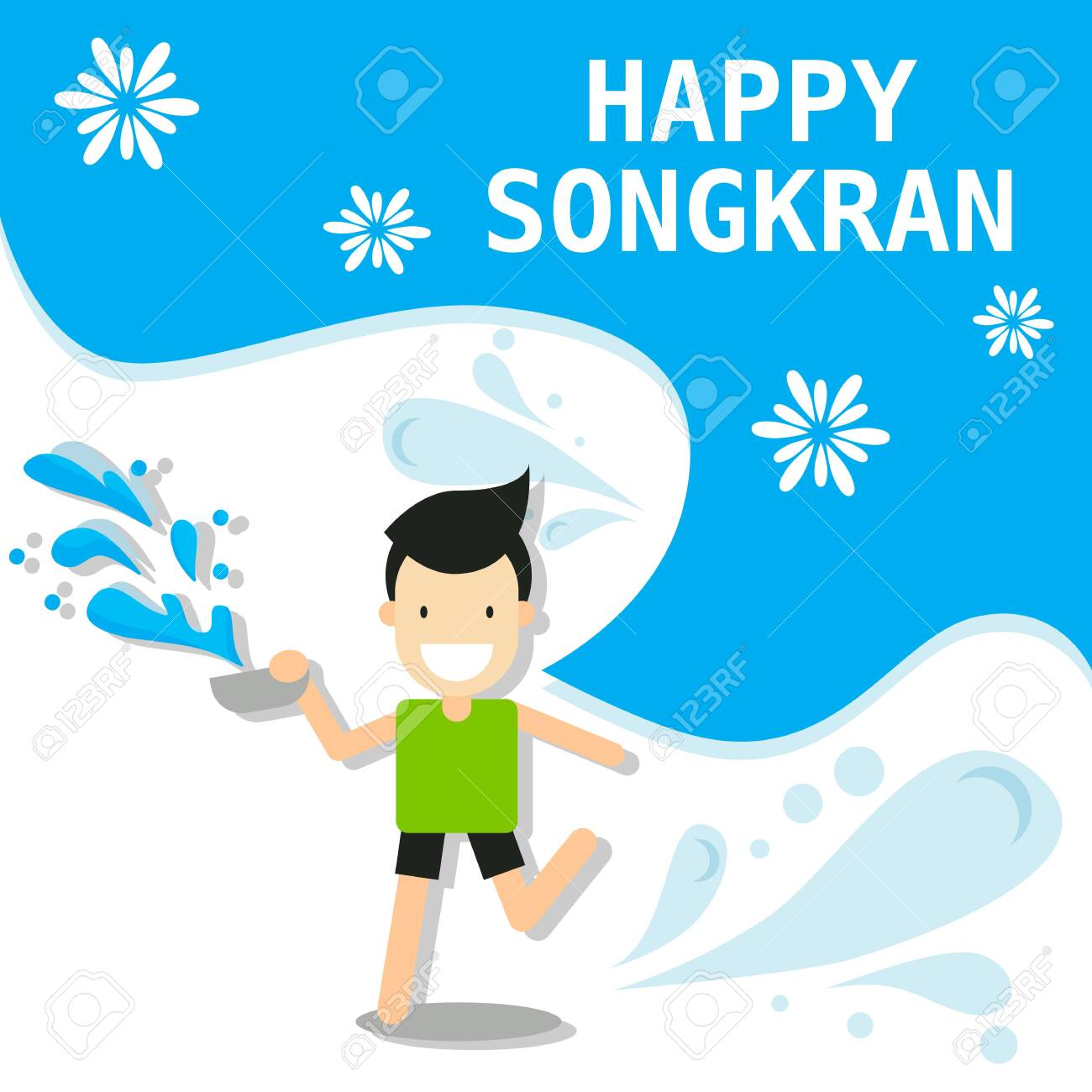 cartoon character abstract people for Songkran festival in Thailand for Thai New Year during hot summer in 13th april vector illustration - 139183027