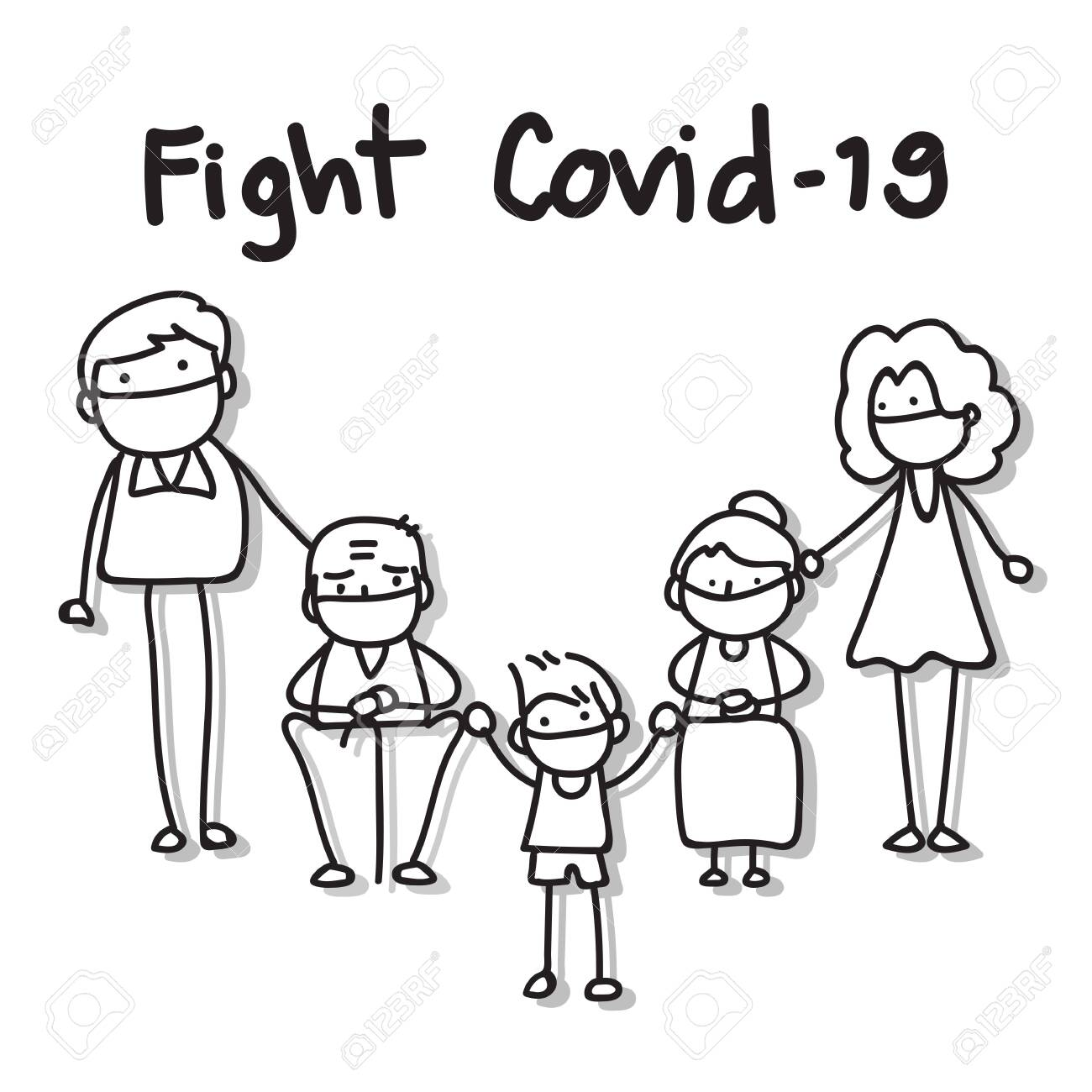 hand drawing cartoon character people in family wear mask protection fight Covid-19. vector illustration eps10. - 142810807