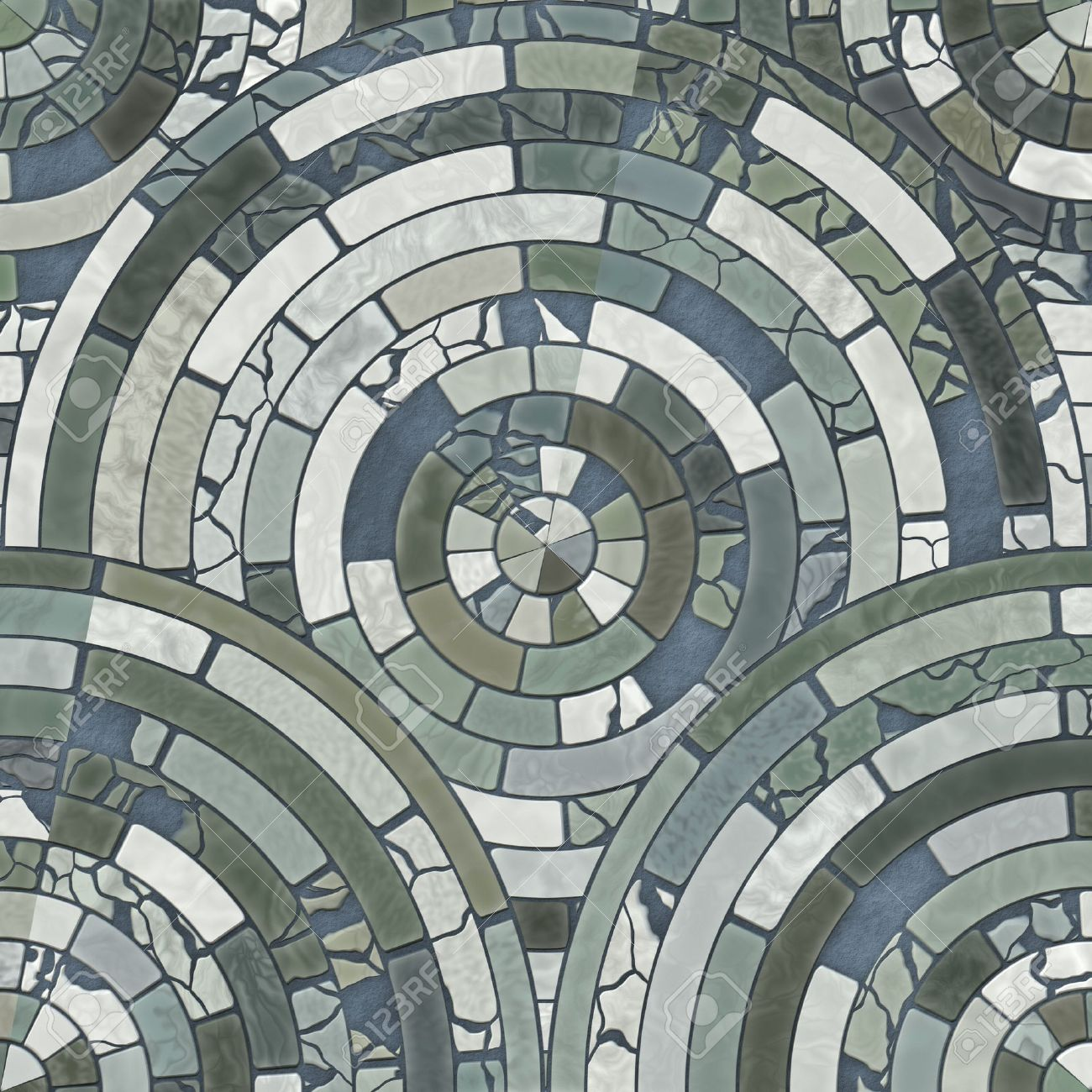 blue circle stone floor tiles stock photo, picture and royalty