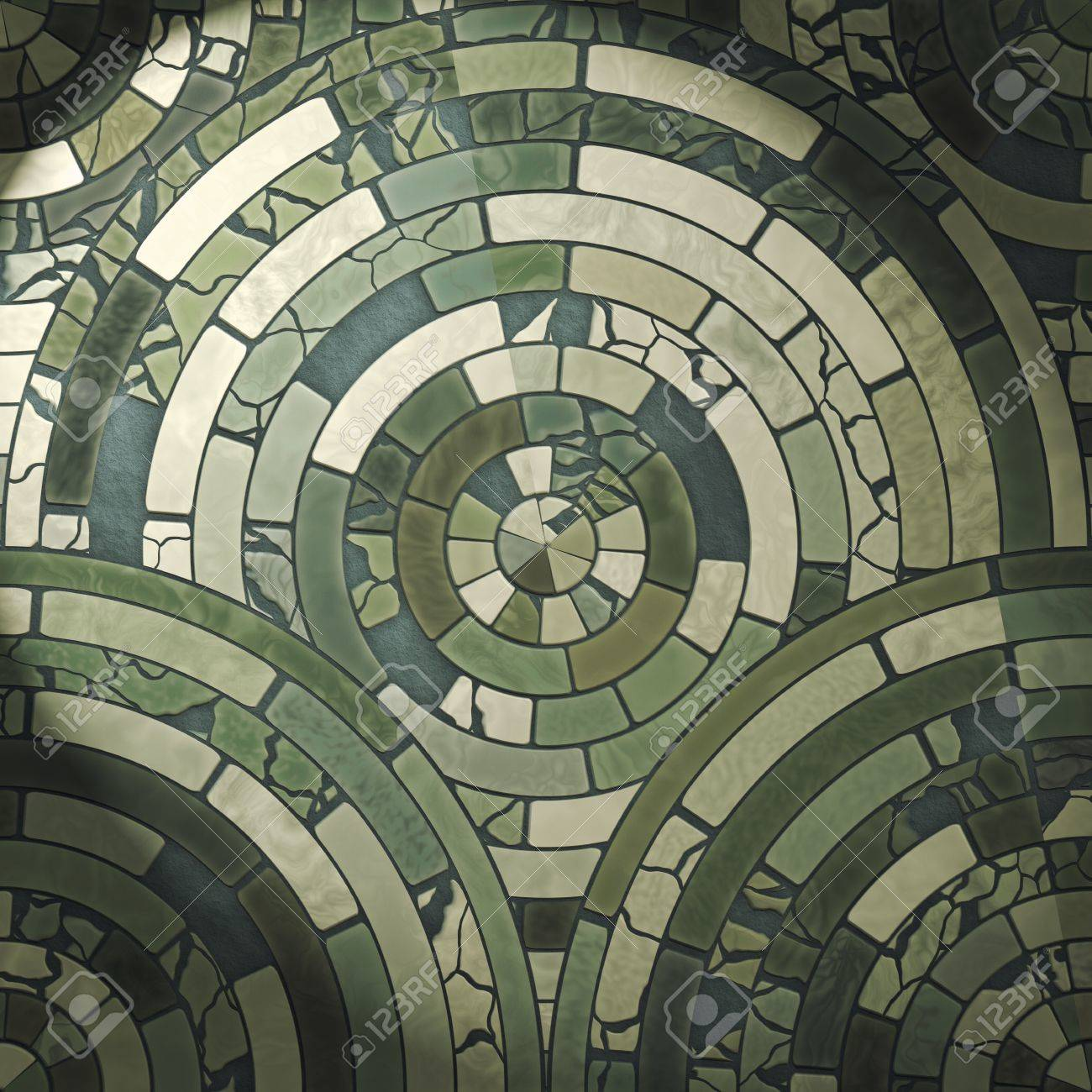 Circle Tiles Green Circle Stone Floor Tiles Stock Photo Picture And Royalty
