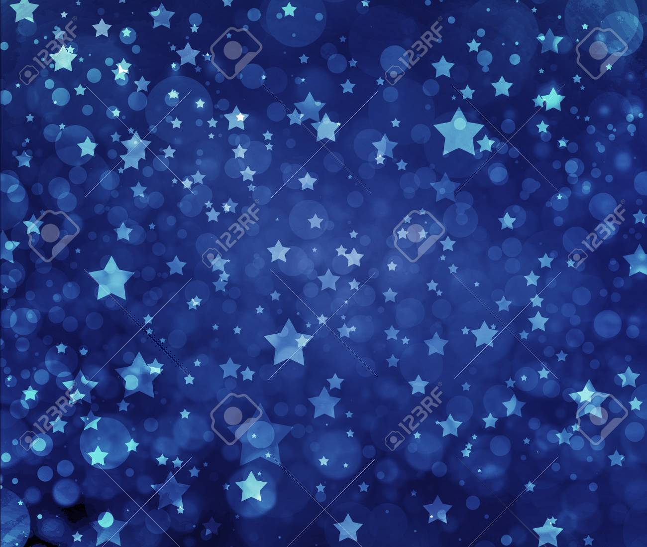 Stars On Blue Background Navy With White Glittering At Night