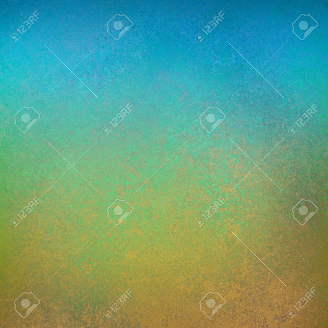Hellen Himmel Blau, Grün Und Gold Hintergrund Mit Distressed Textur ...