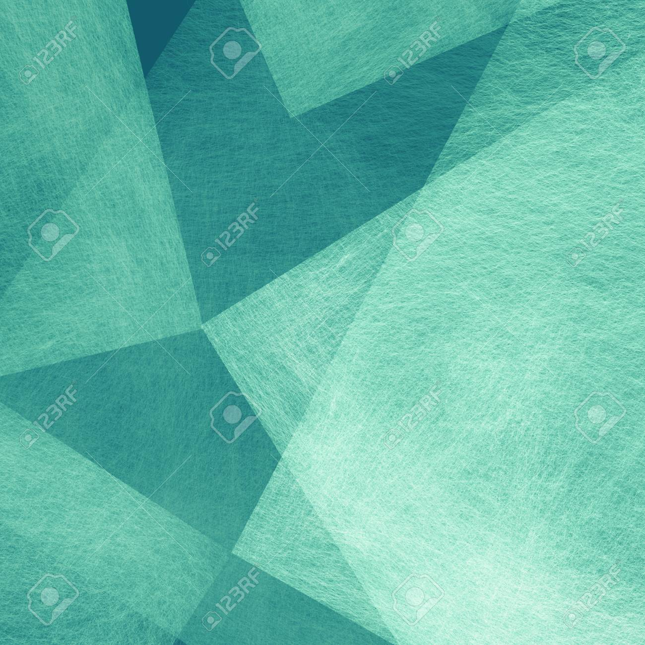abstract blue green background of transparent white triangle and square shapes layered in elegant classy design