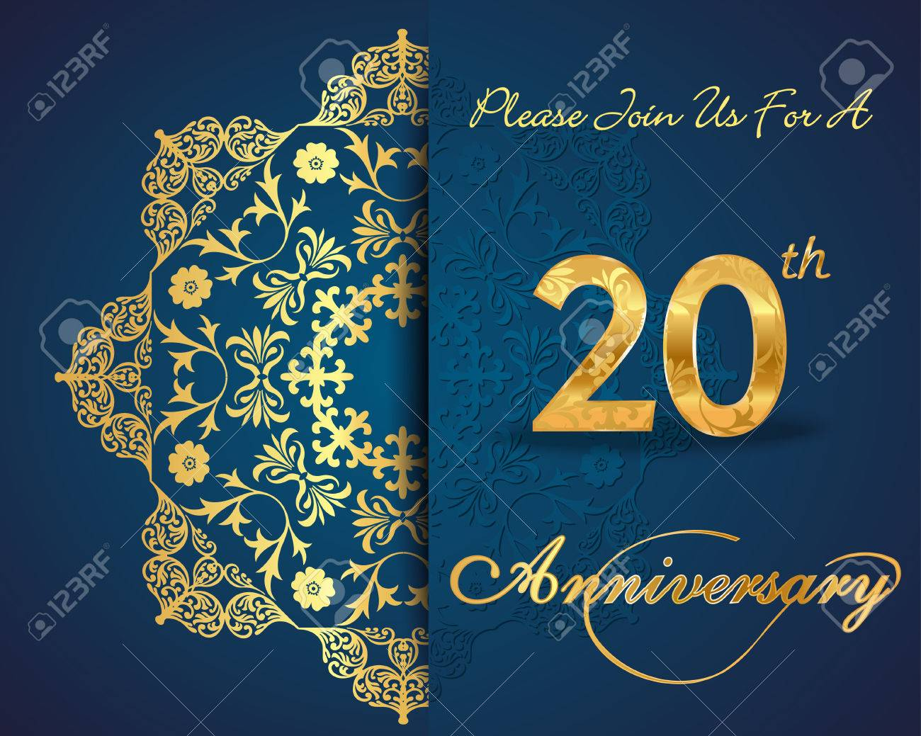 20 Años De Diseño Aniversario Patrón Elementos Aniversario Vigésimo Decorativos Florales Fondo Adornado Tarjeta De Invitación Vector Eps10
