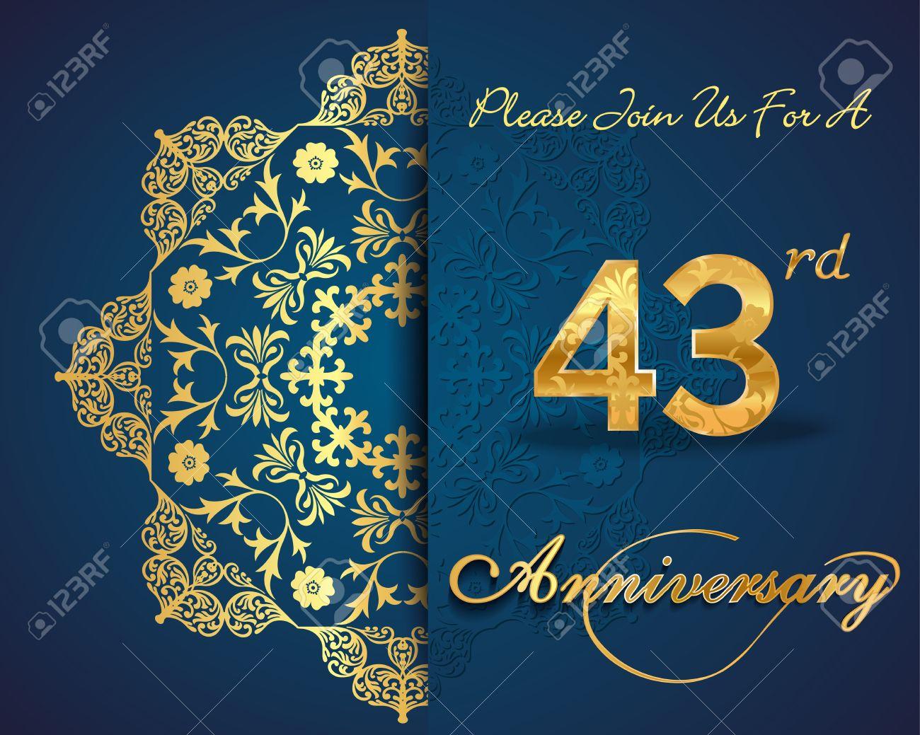 Anniversario Di Matrimonio 34 Anni.Vettoriale Disegno 43 Anni Del Modello Anniversario 43