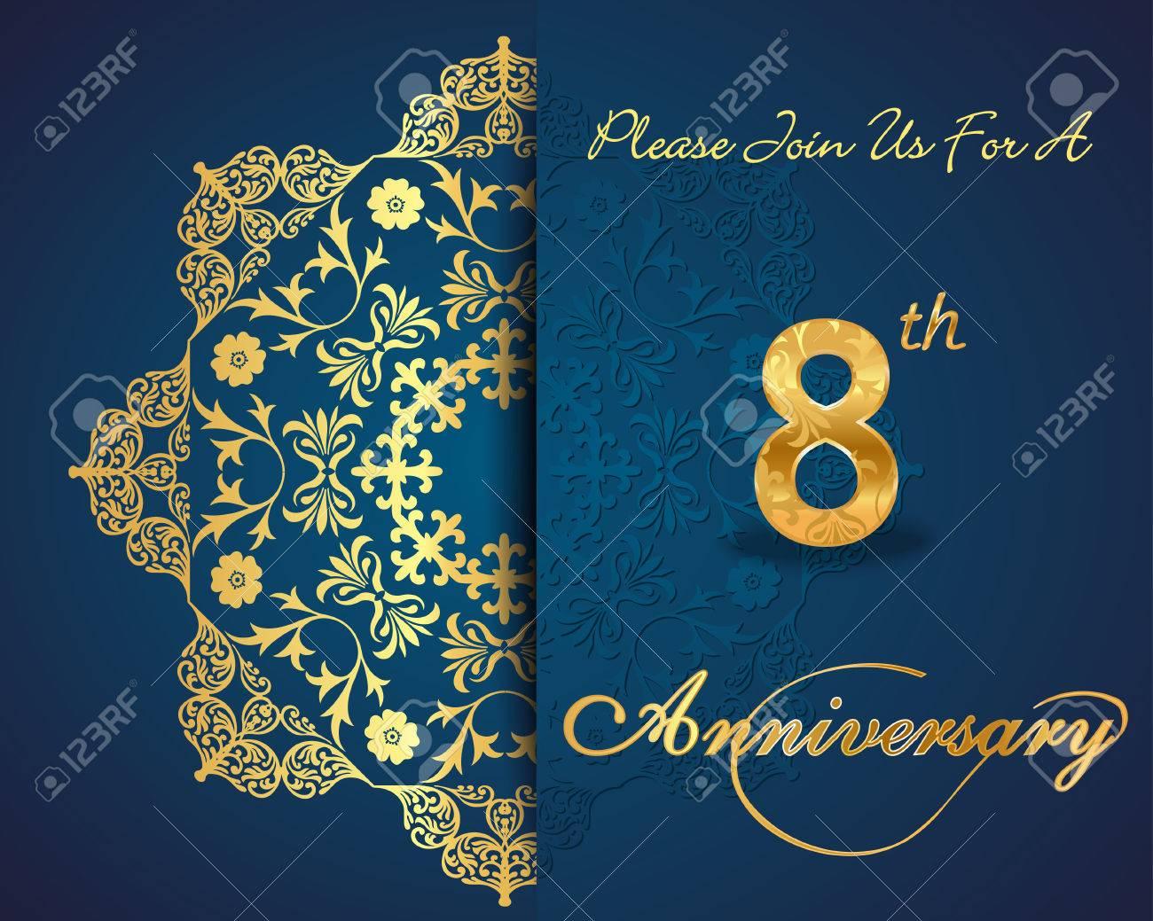 8th year anniversary celebration pattern design decorative floral