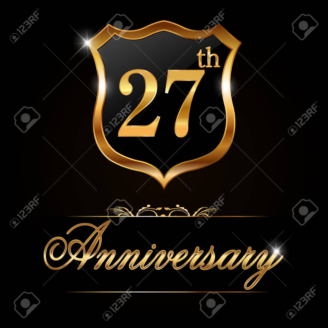 27 year anniversary golden label decorative golden emblem 27 year anniversary golden label decorative golden emblem vector illustration stock vector 36851764 biocorpaavc Images